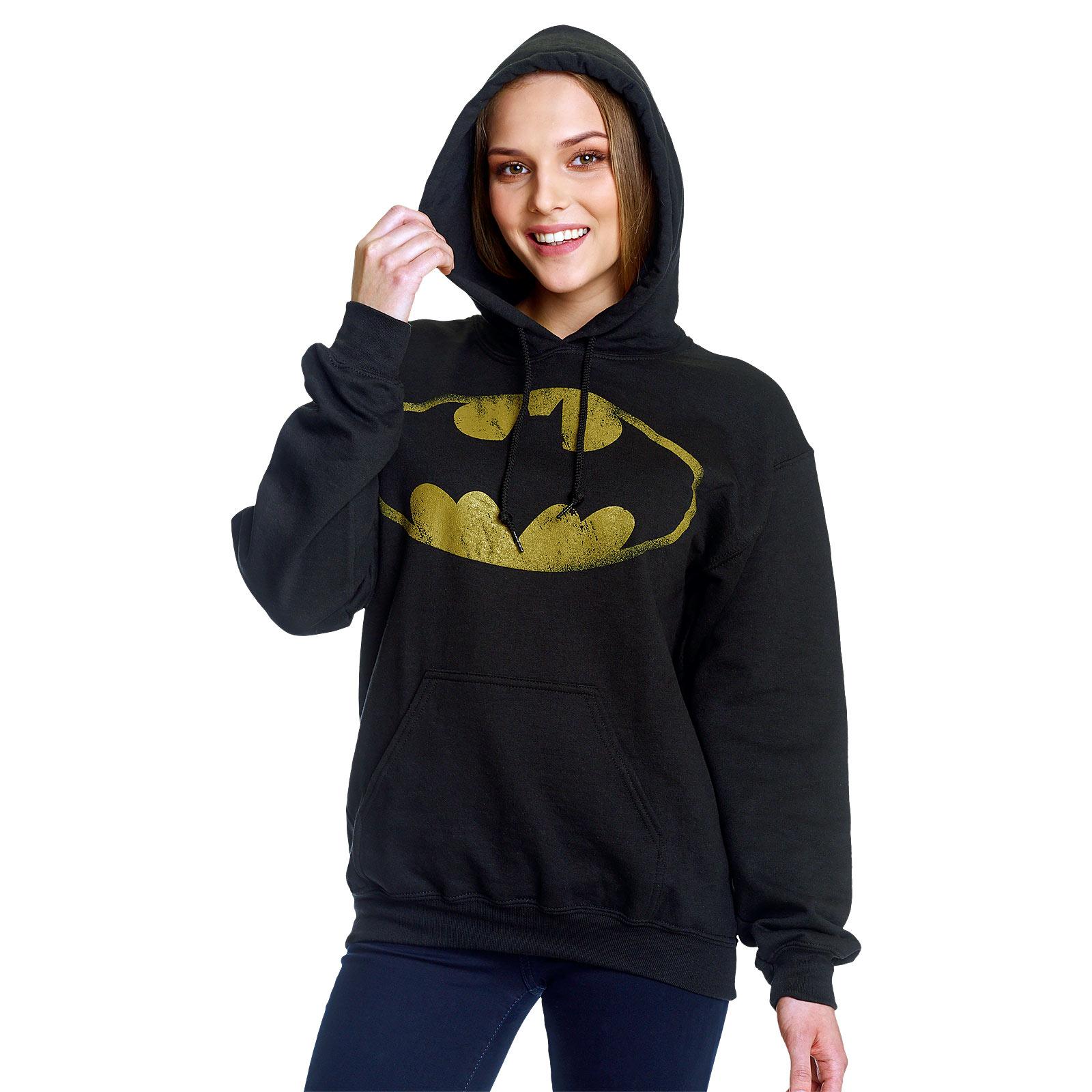 Batman - Distressed Bat Logo Hoodie schwarz