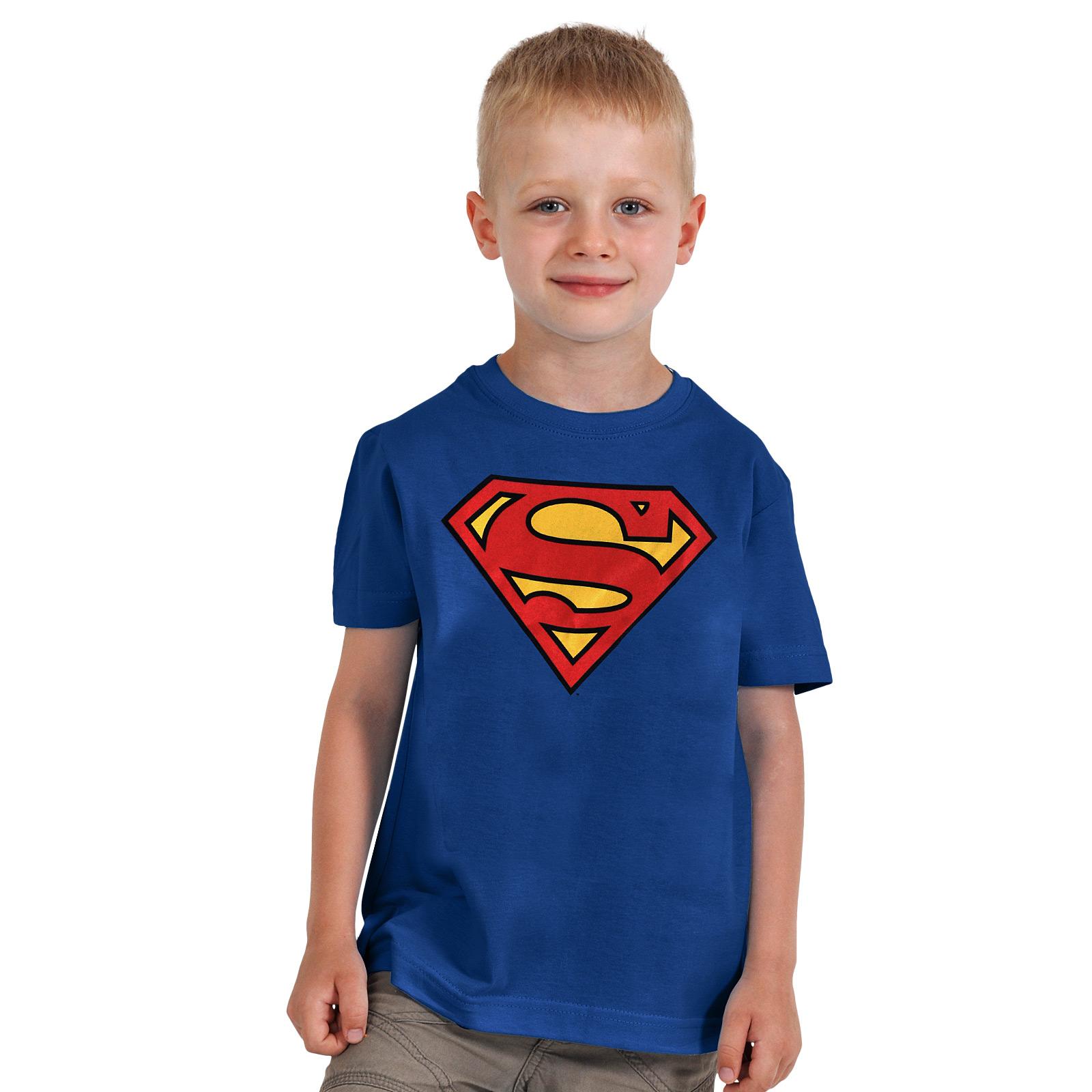 Superman Logo Kinder T-Shirt blau