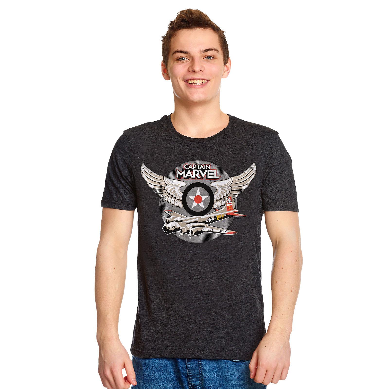 Captain Marvel - Air Force Pilot T-Shirt grau