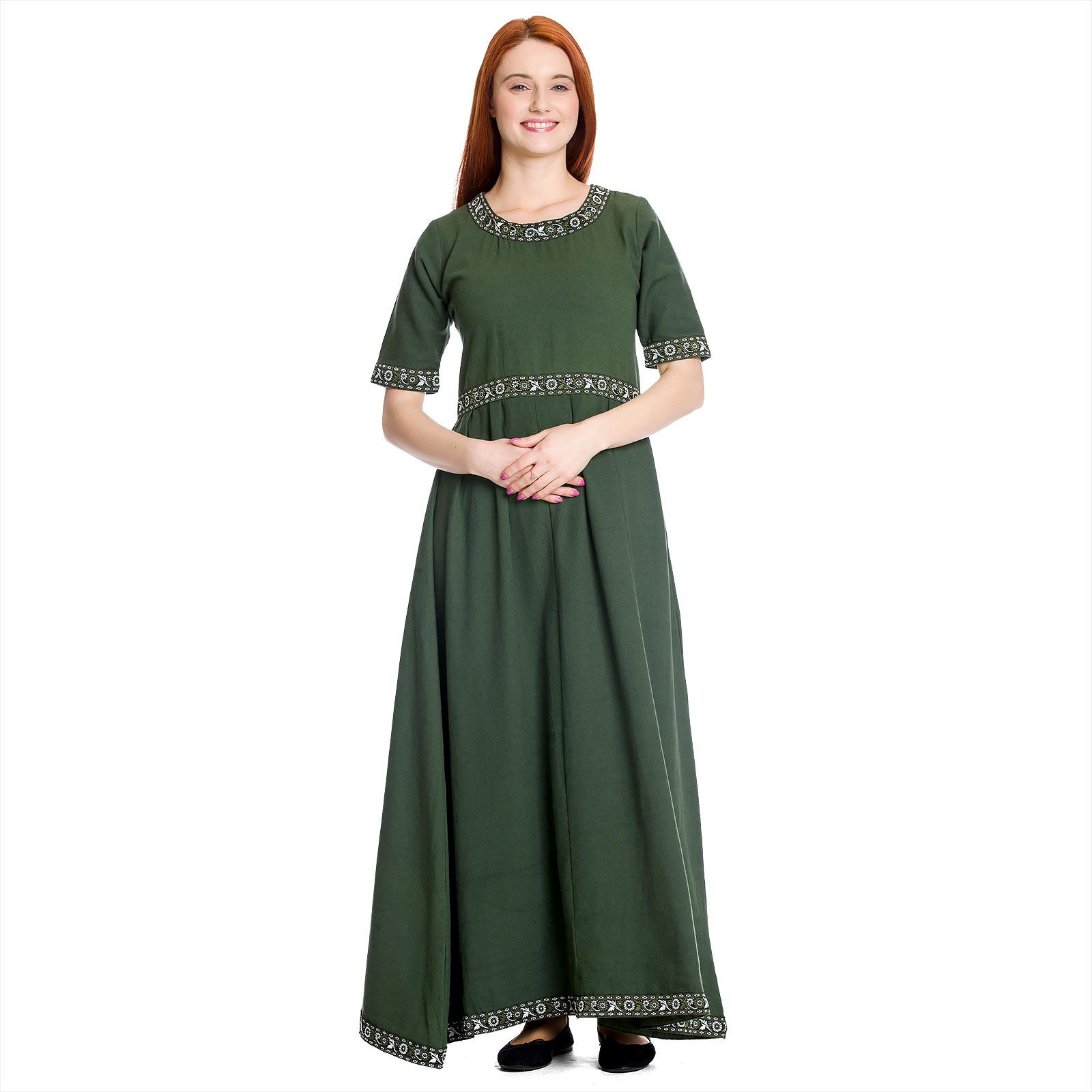 Mittelalter Kleid Ennlin mit Kurzarm grün