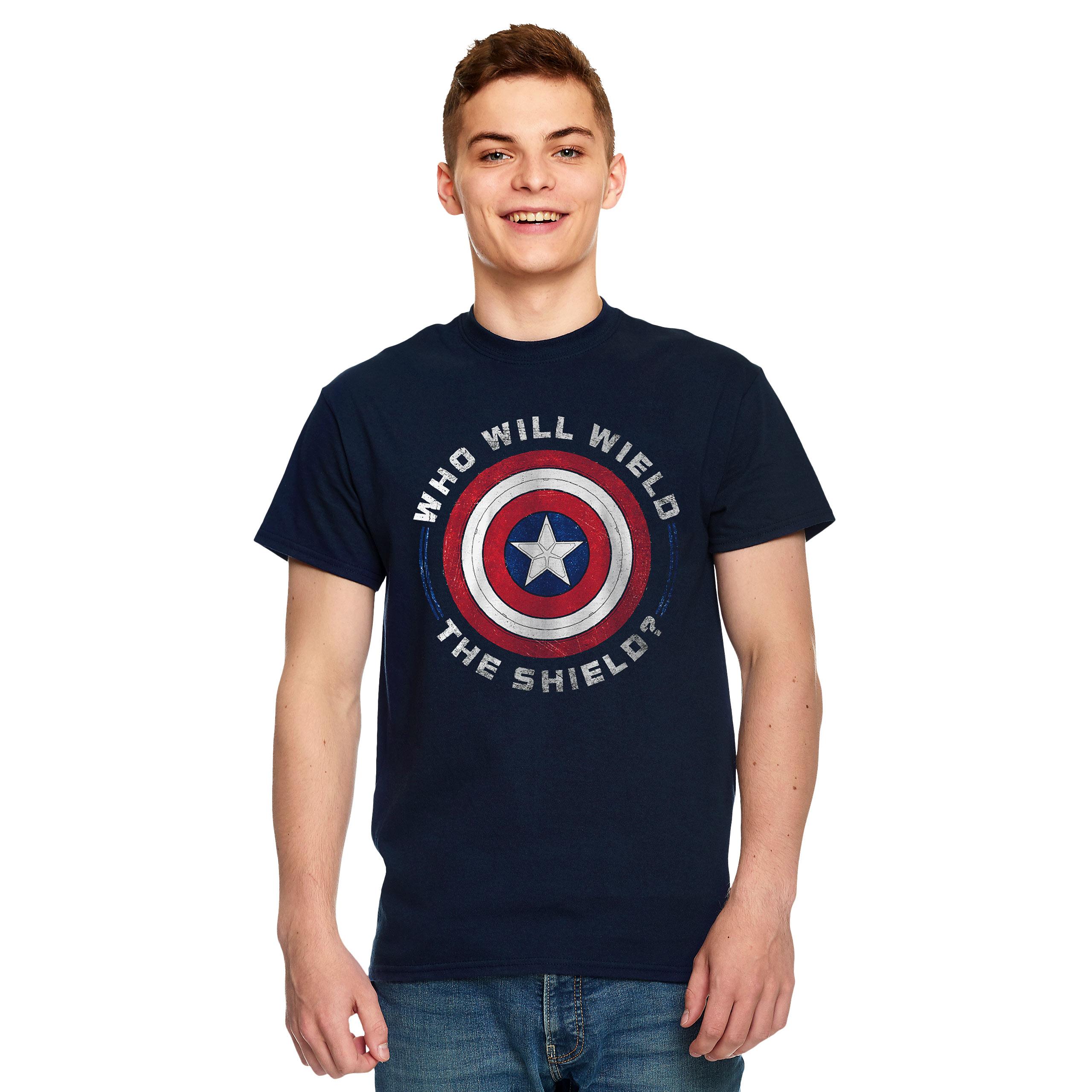 Marvel - Who Will Wield The Shield T-Shirt blau
