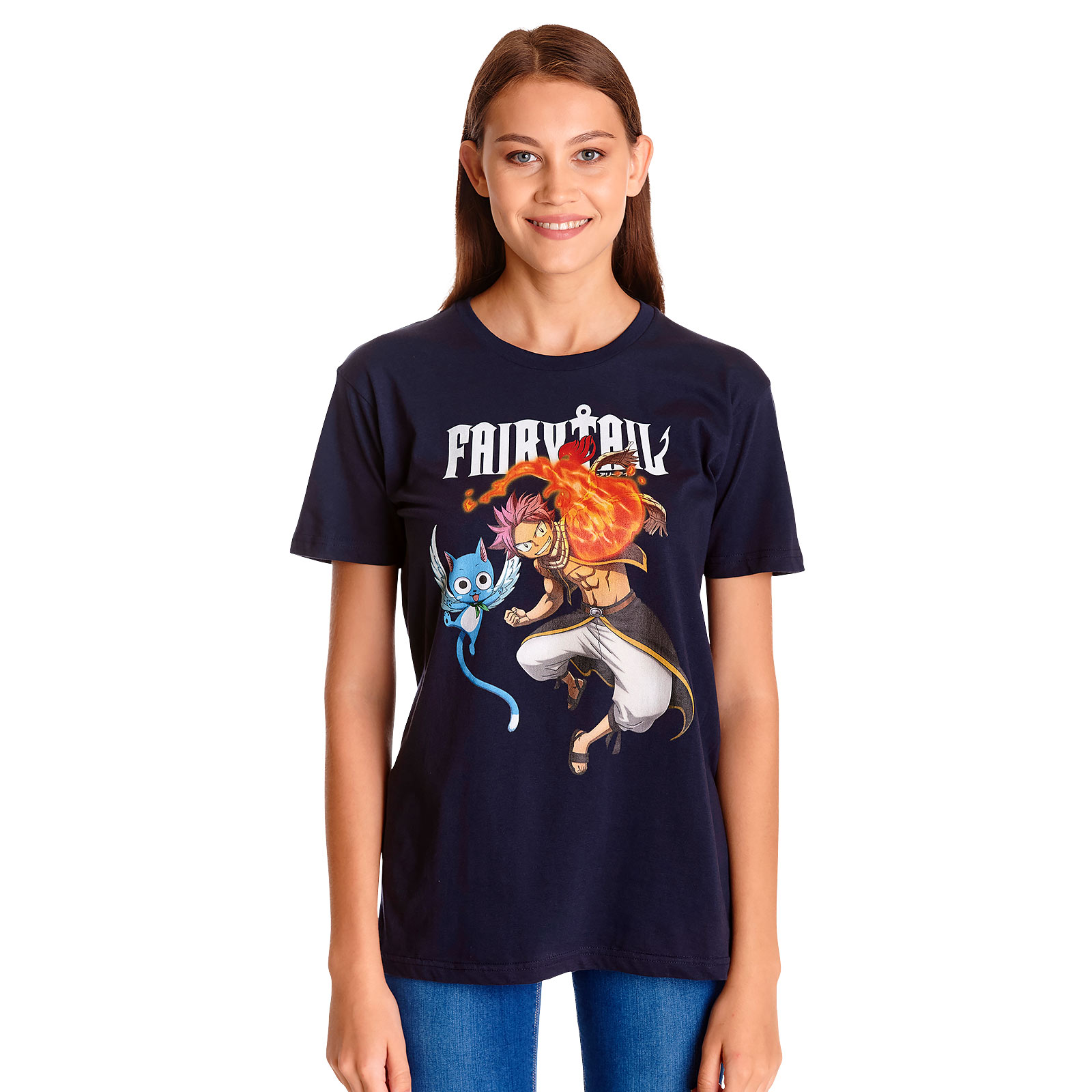Fairy Tail - Natsu und Happy T-Shirt blau