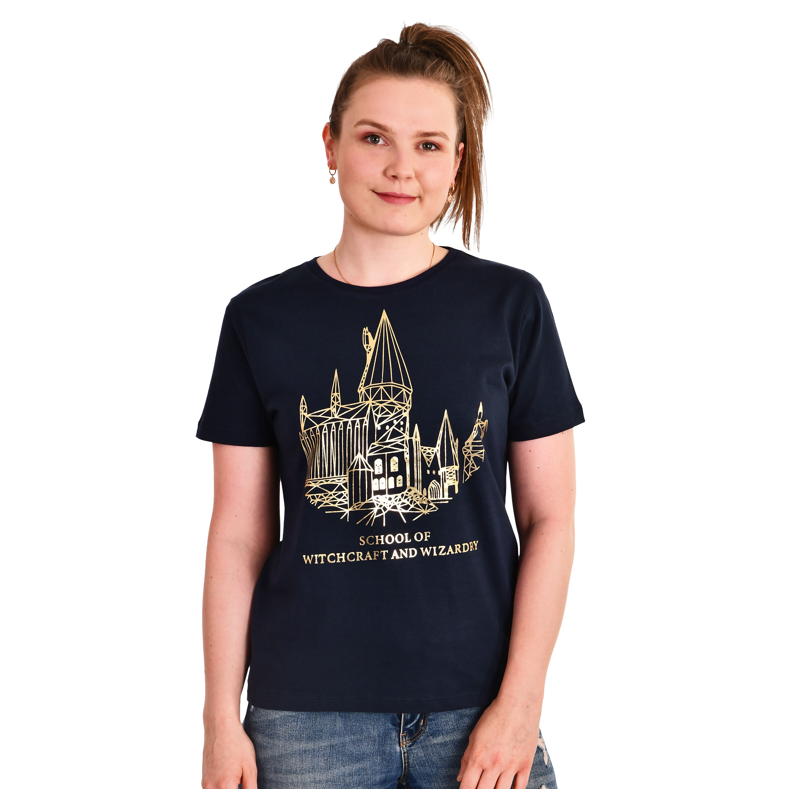 Harry Potter - Hogwarts School T-Shirt Damen blau
