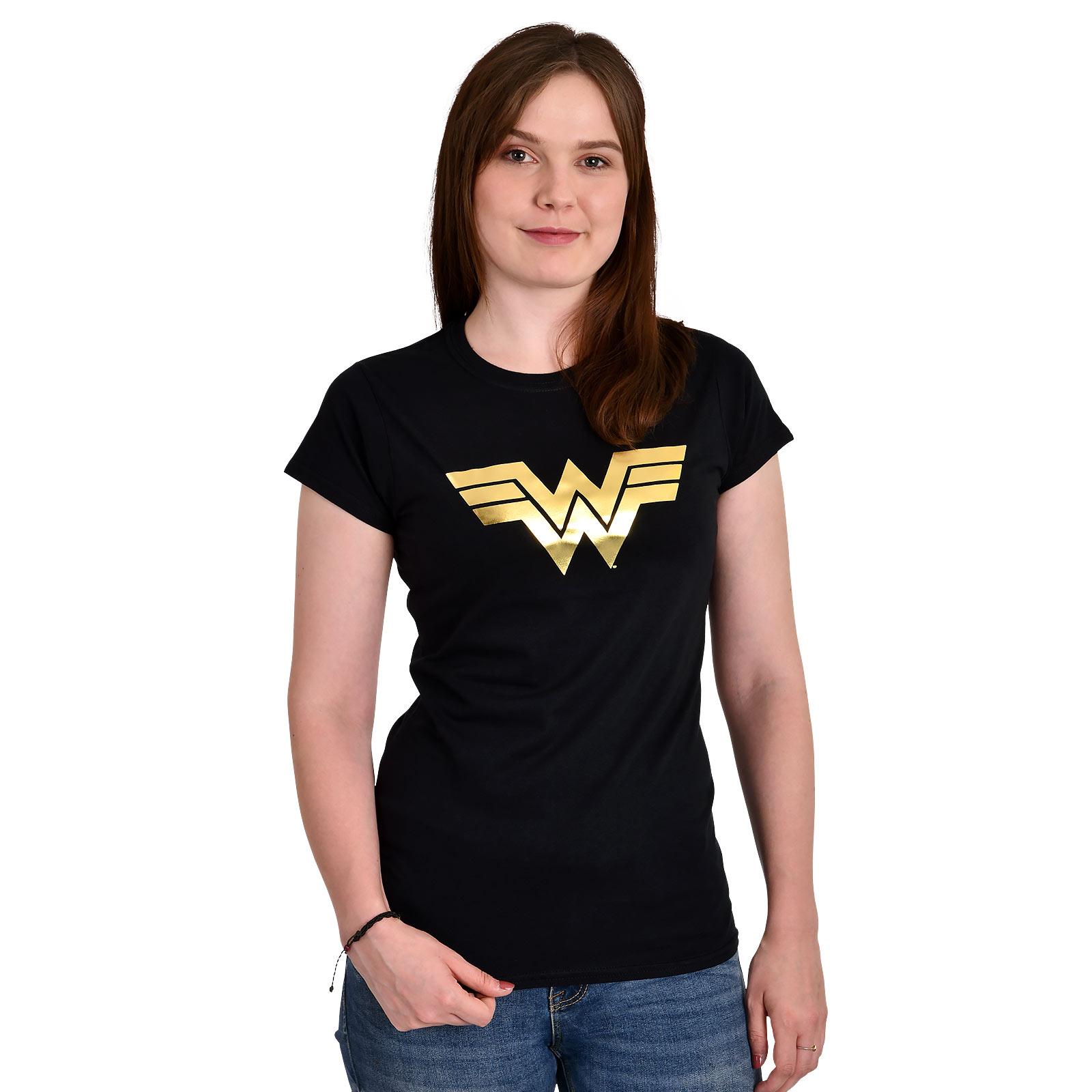 Wonder Woman - Golden Logo T-Shirt Damen schwarz