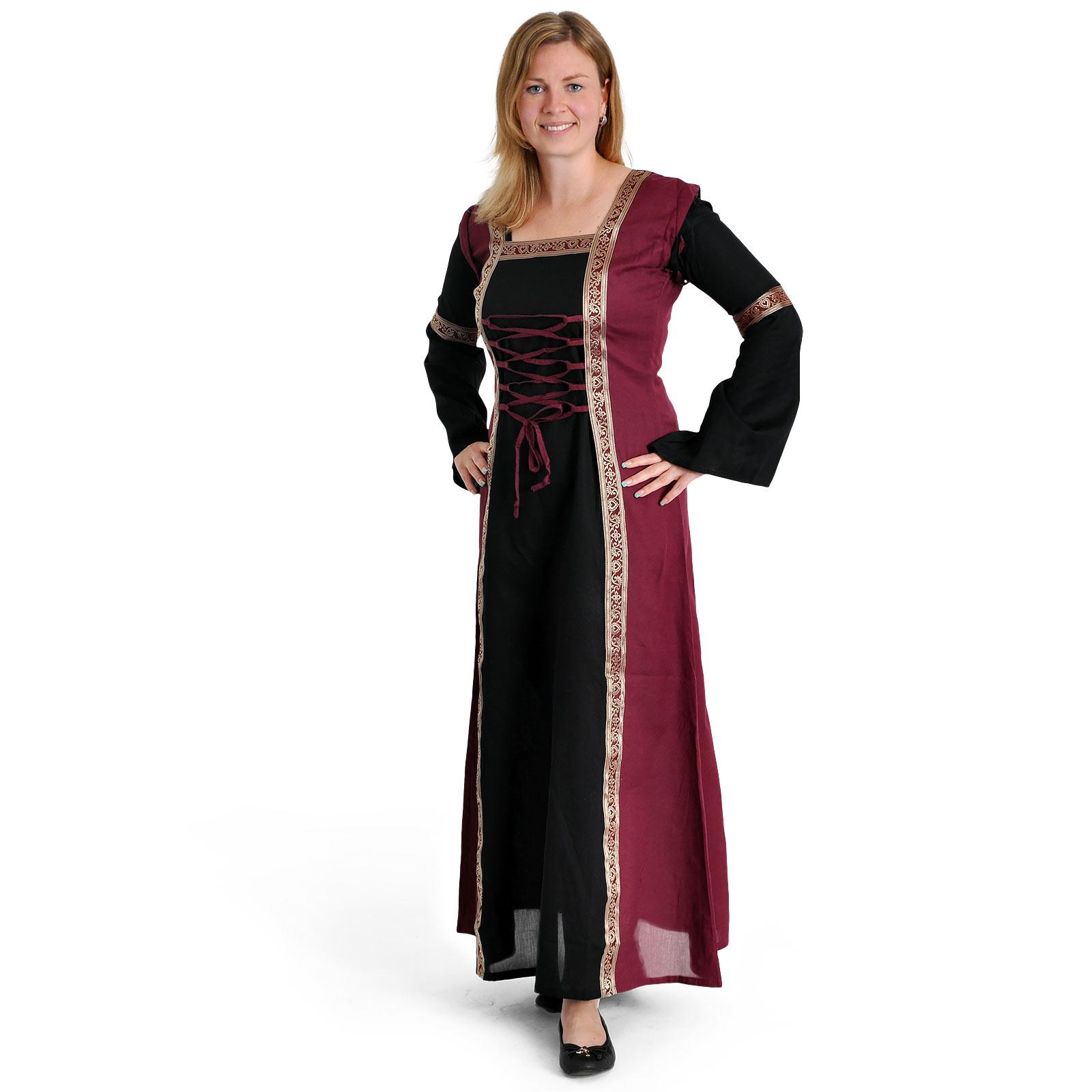Mittelalter Kleid Applonia mit abnehmbaren Ärmeln schwarz-bordeaux