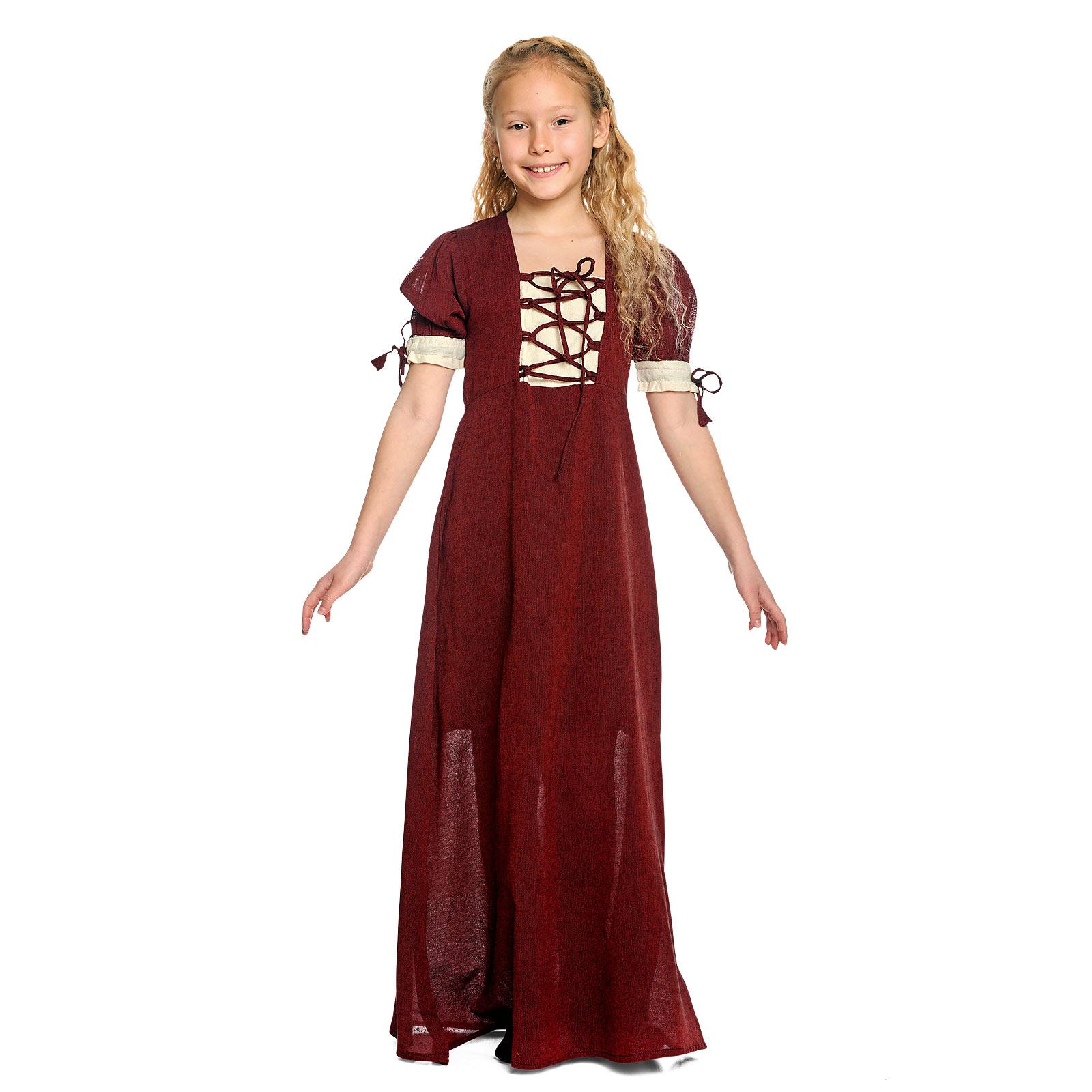 Mittelalter Sommer Kleid Kinder rot beige