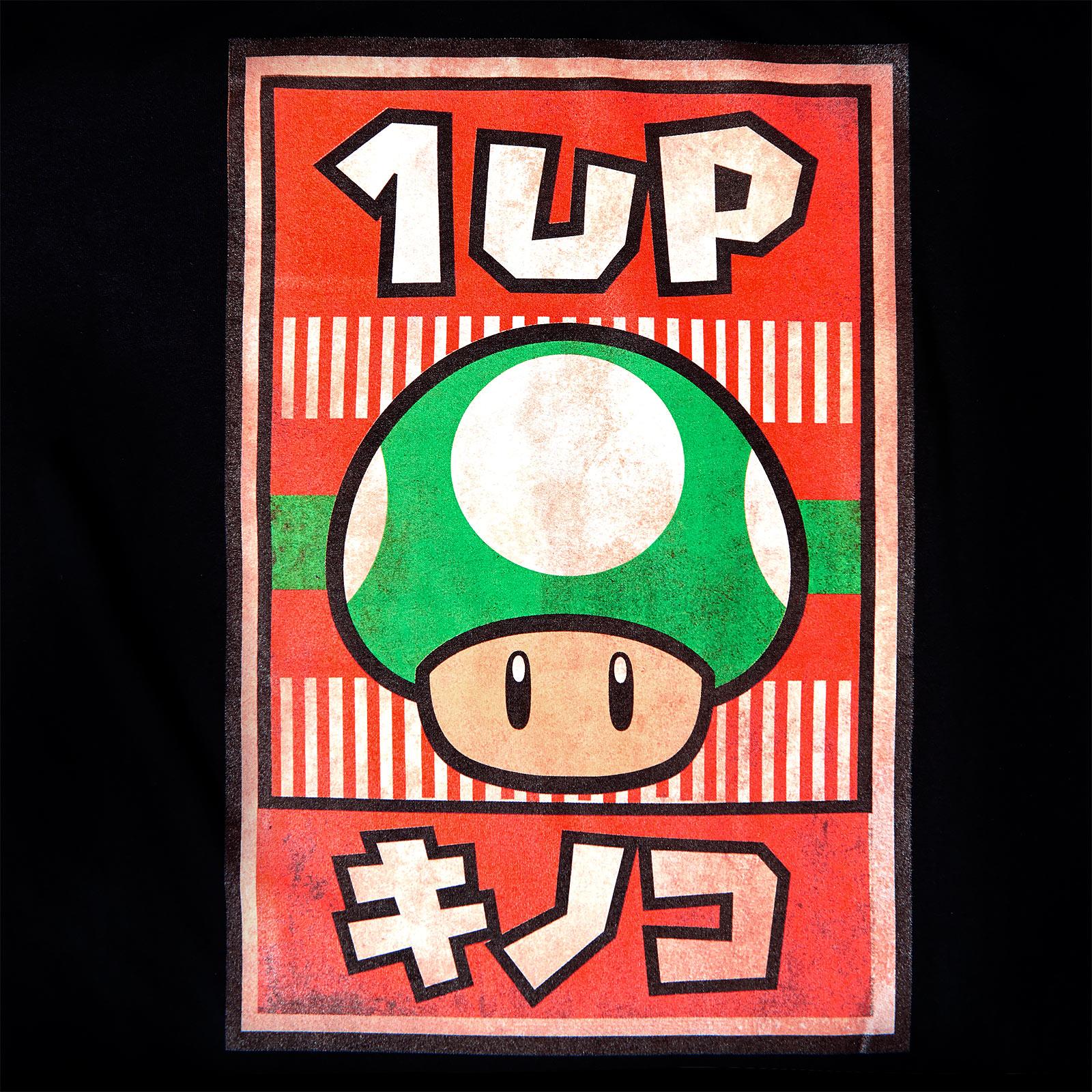 Super Mario - 1 UP Pilz Propaganda Poster T-Shirt schwarz
