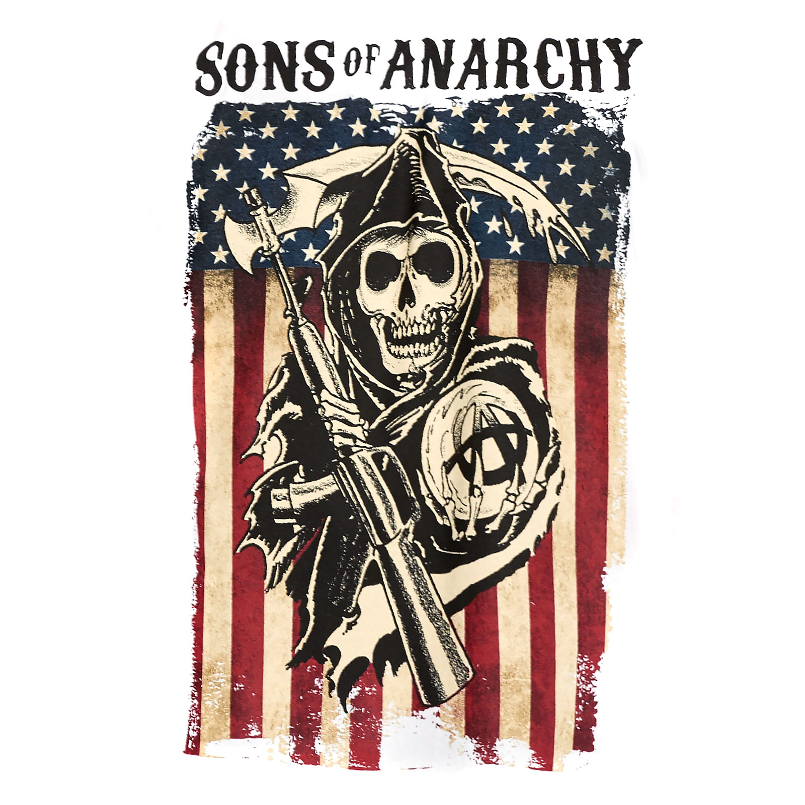 Sons of Anarchy - Reaper Flag T-Shirt weiß