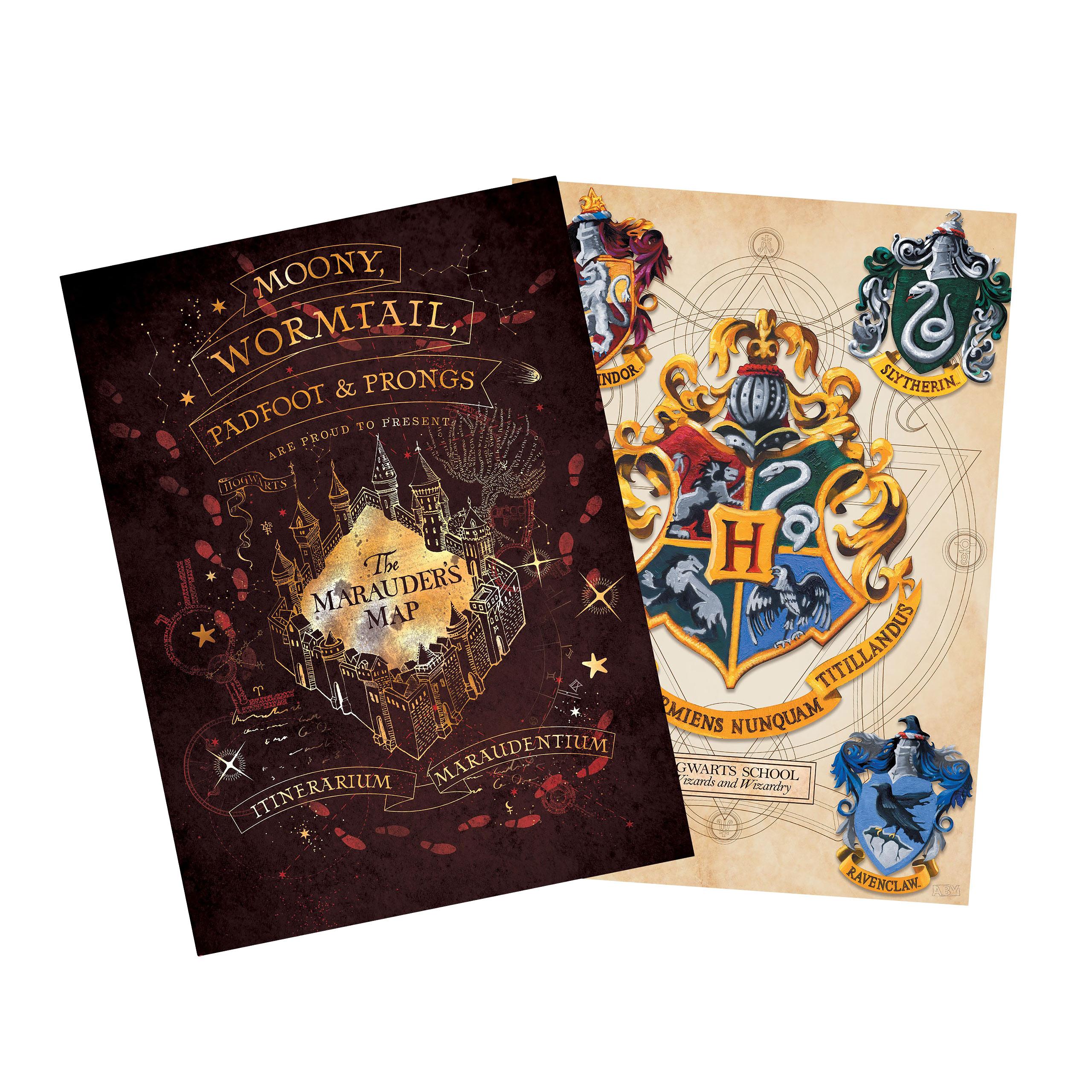 Harry Potter - Hogwarts Wappen & Karte des Rumtreibers Poster 2er Set