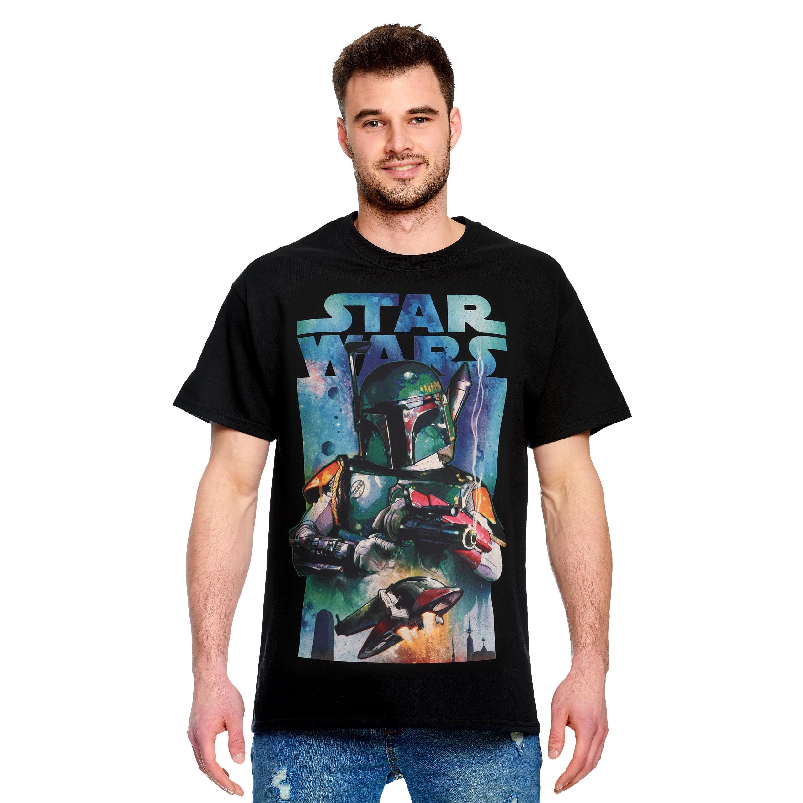 Star Wars - Boba Fett mit Slave I T-Shirt schwarz
