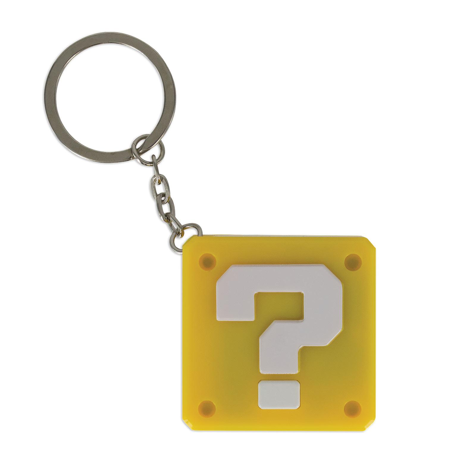 Super Mario - Fragezeichen Schlüsselanhänger mit Licht und Sound