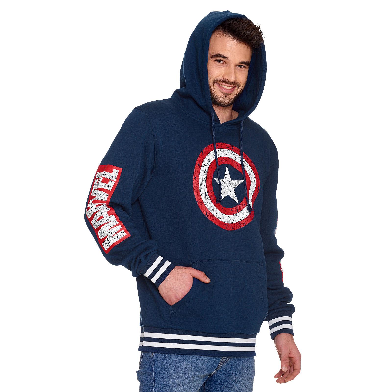 Captain America - Shield Distressed Logo Hoodie blau