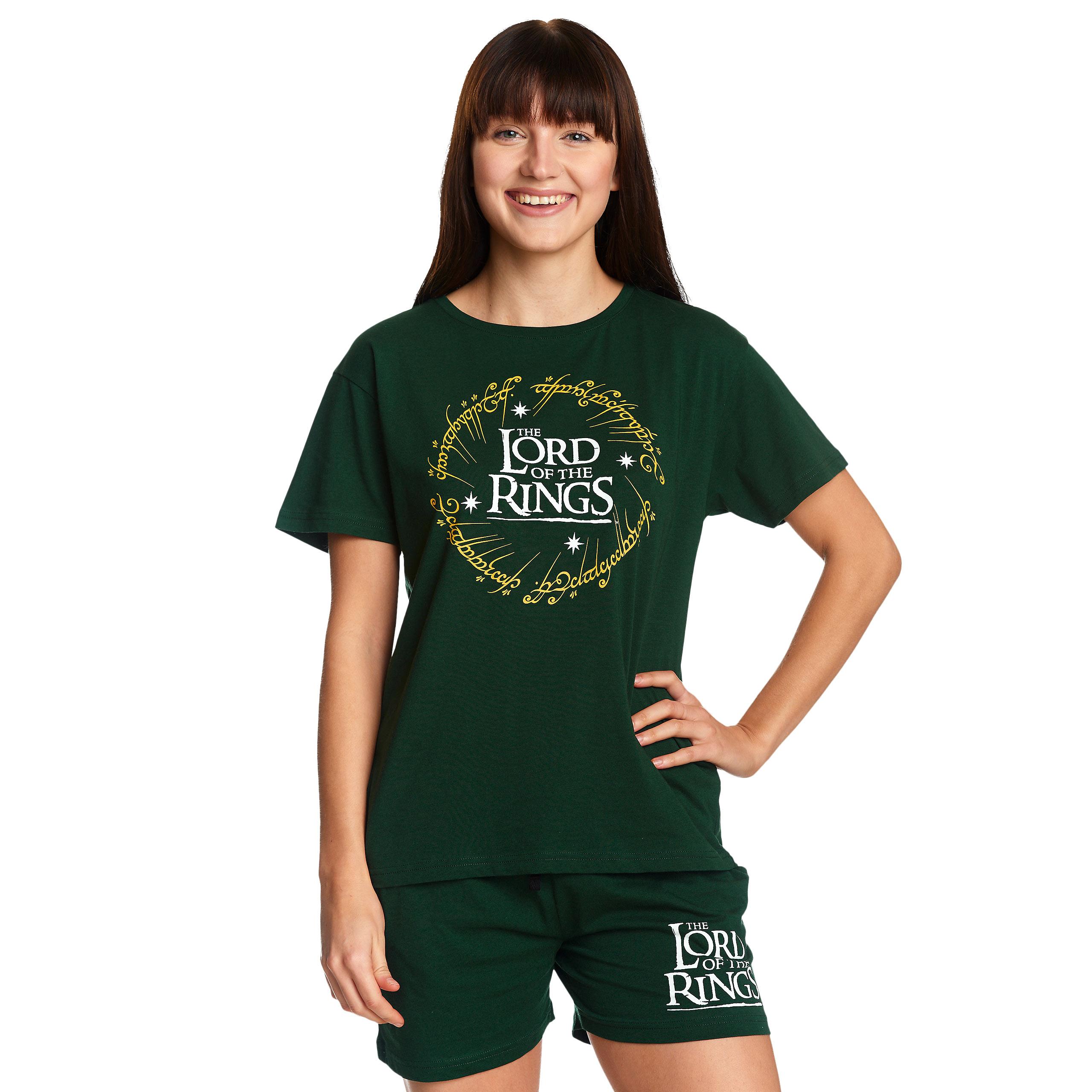 Herr der Ringe - Der Eine Ring Pyjama kurz Damen grün