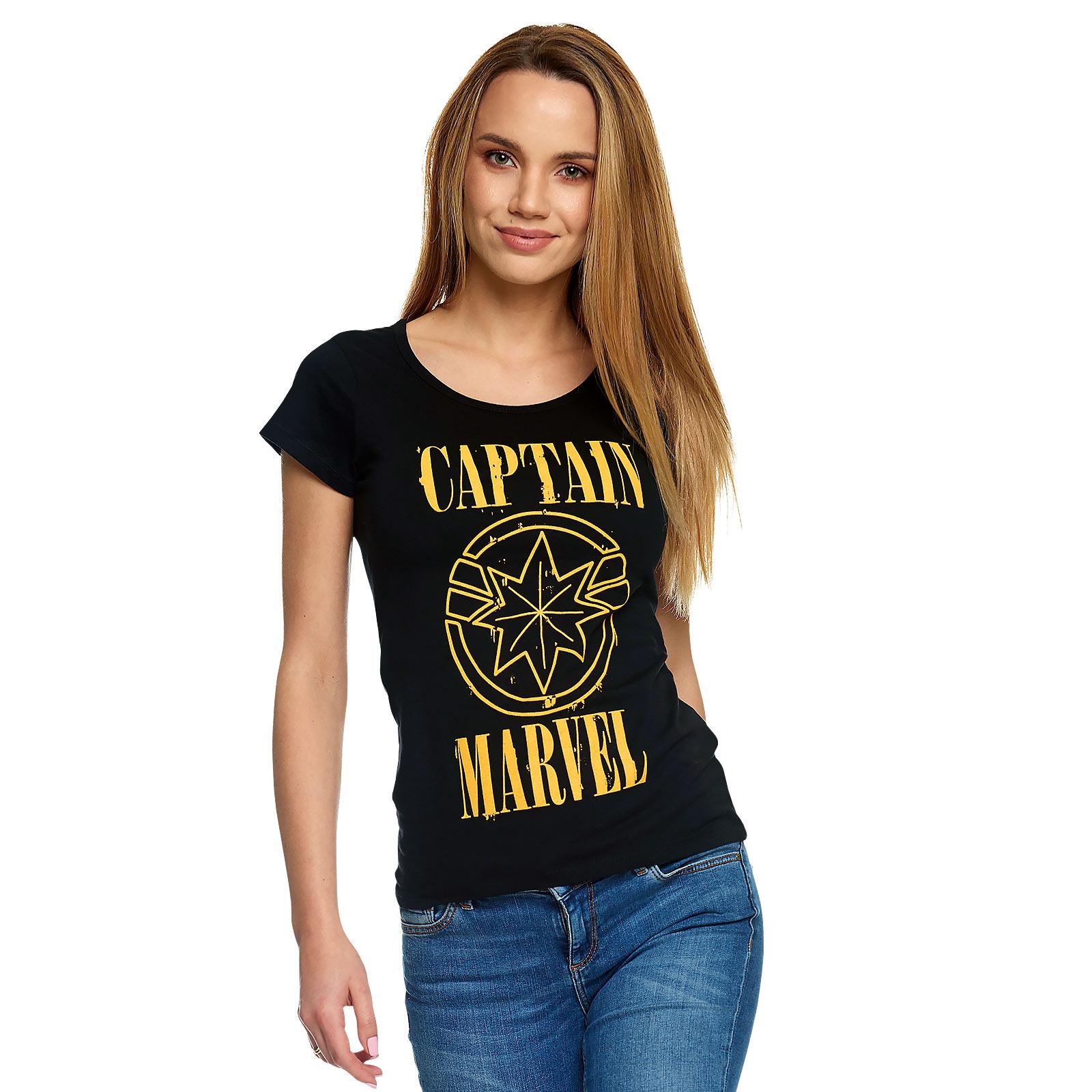 Captain Marvel - Grunge Logo T-Shirt Damen schwarz