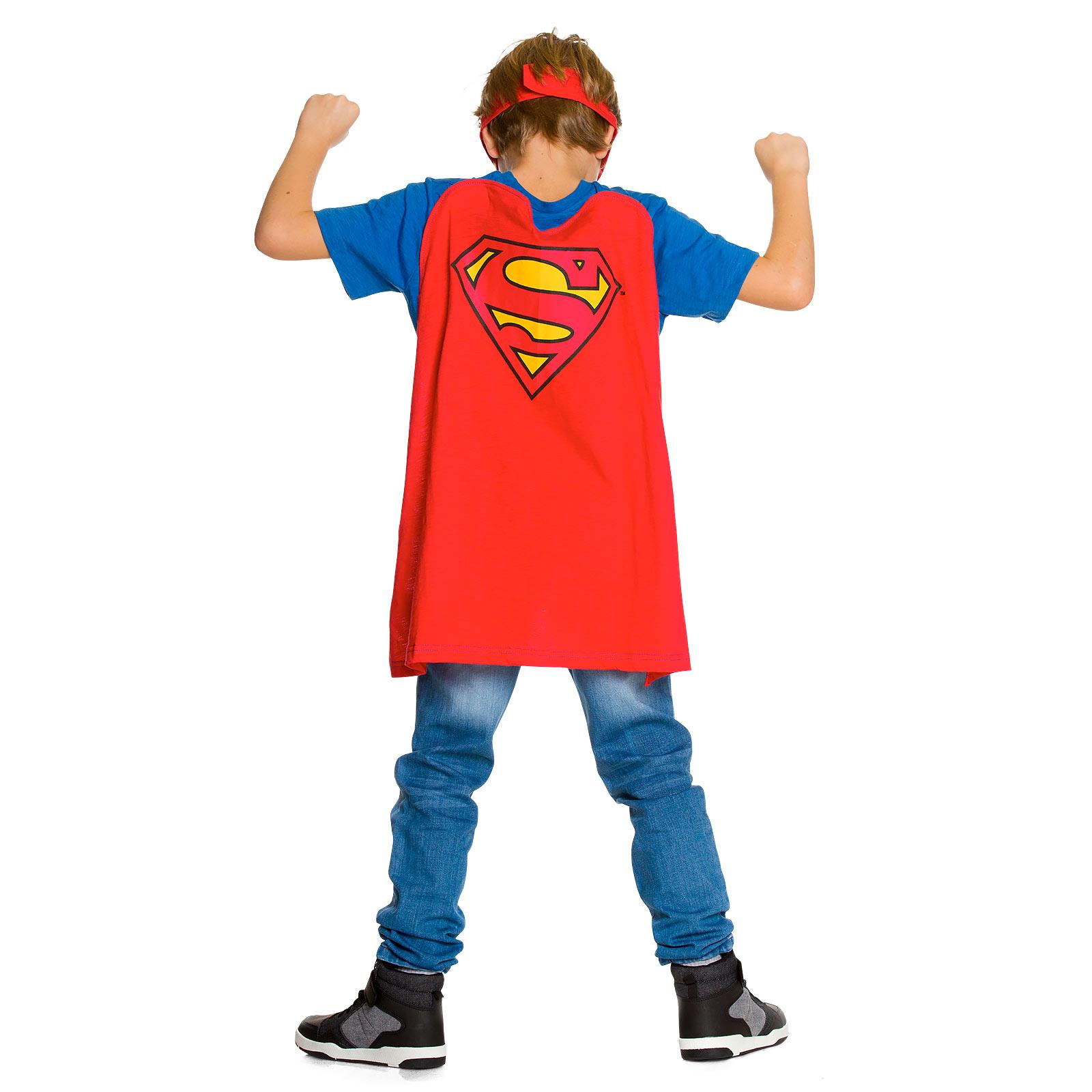 Superman - Kinder T-Shirt mit Cape & Augenmaske