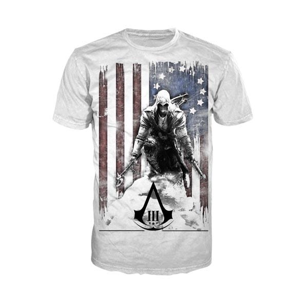 Assassins Creed III - Burned Flag T-Shirt weiß