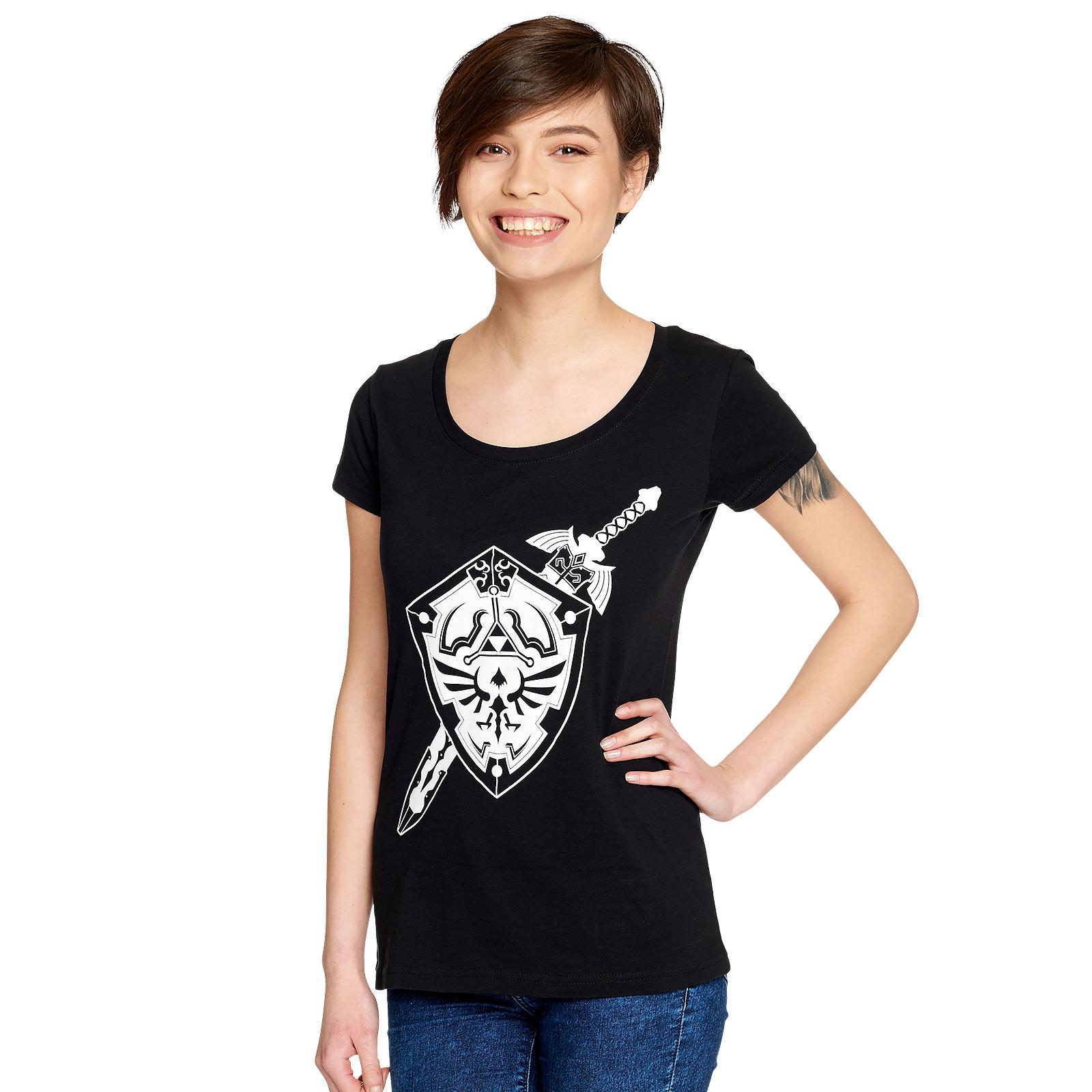 Zelda - Sword and Shield T-Shirt Damen schwarz