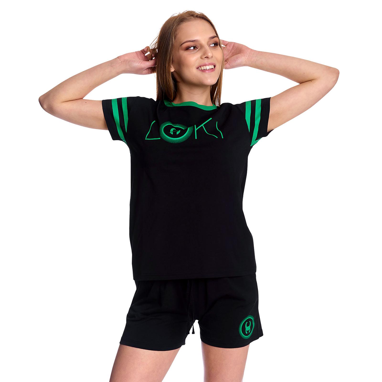Loki - Logo Pyjama kurz Damen schwarz