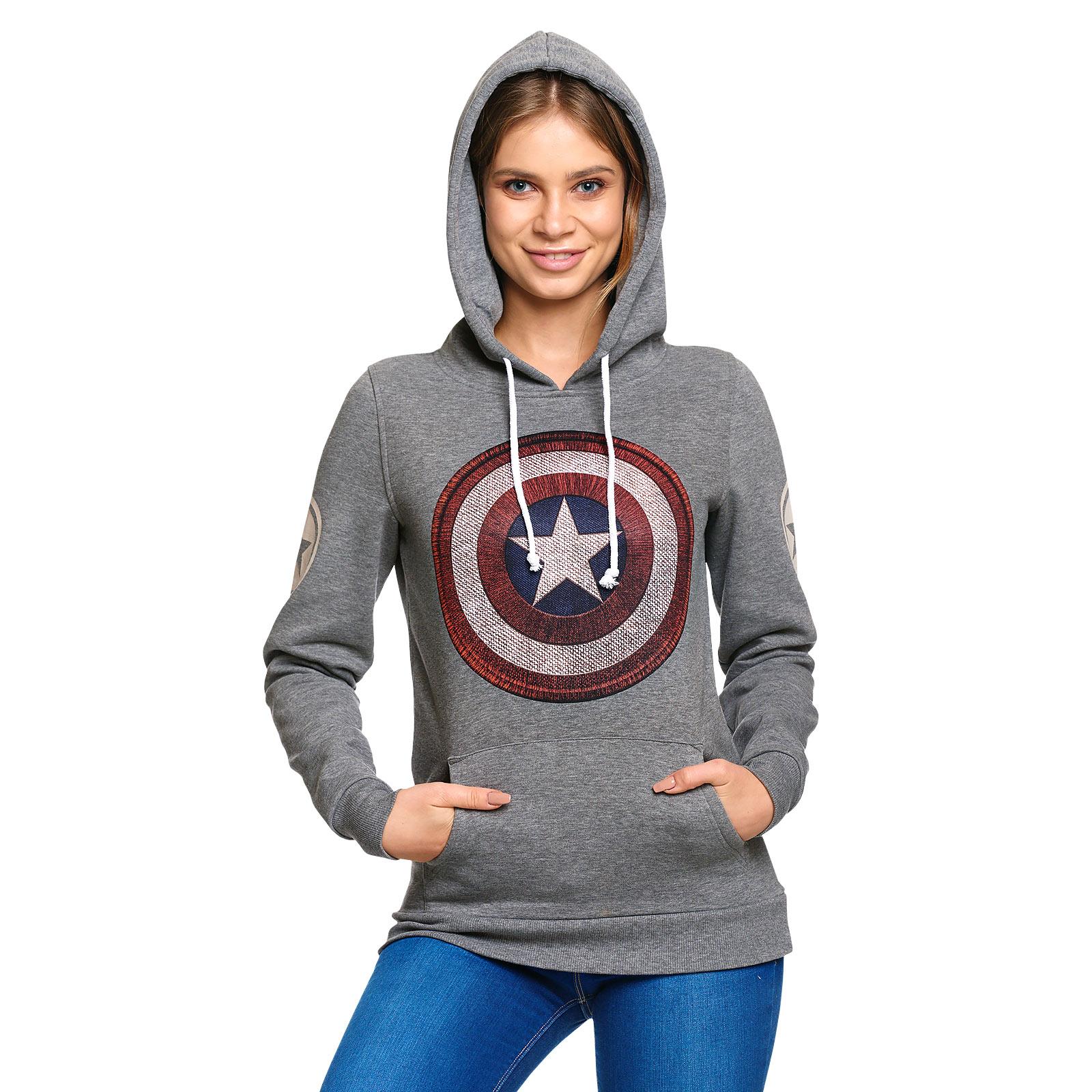 Captain America - Shield Logo Retro Hoodie Damen grau