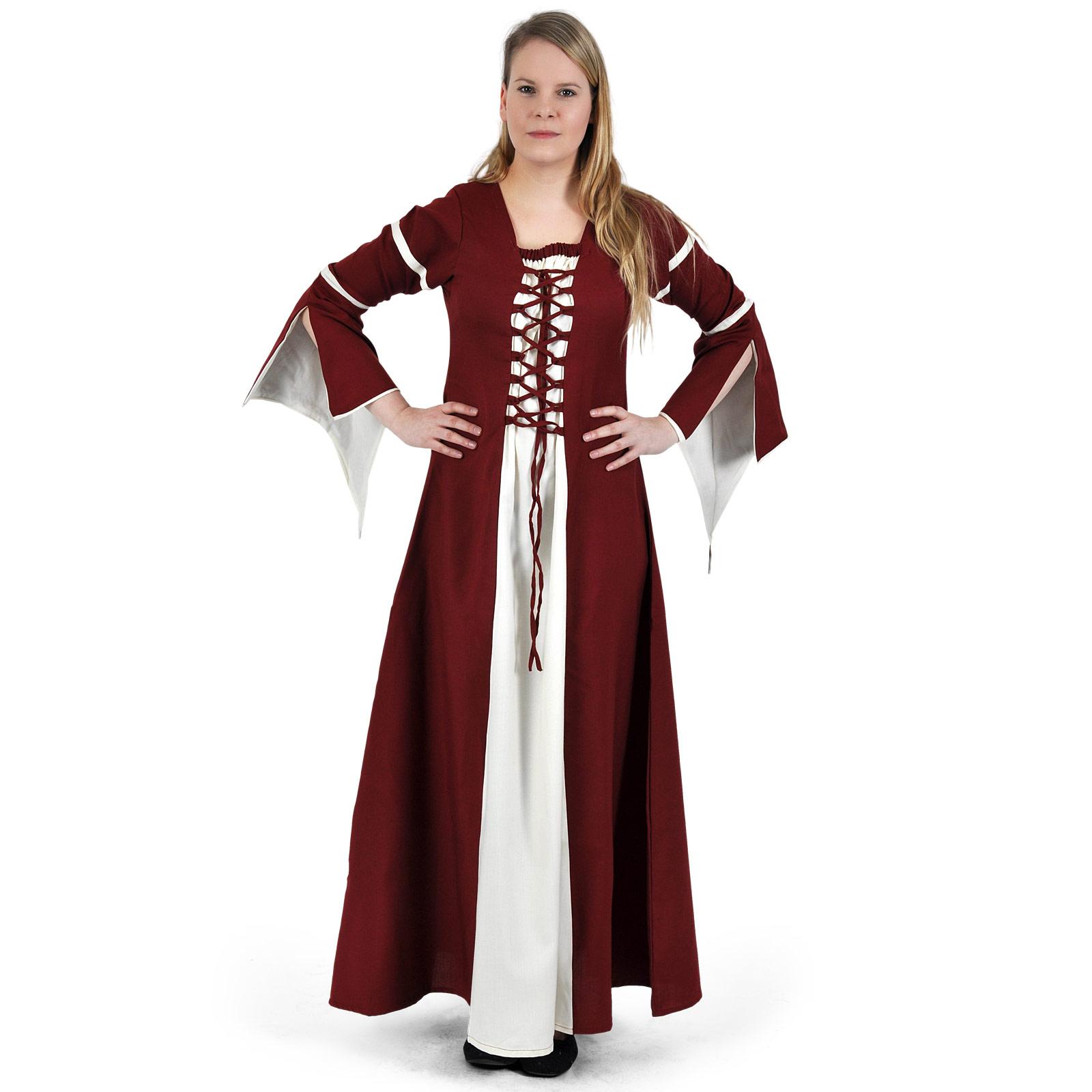 Mittelalter Kleid Katherina rot-natur