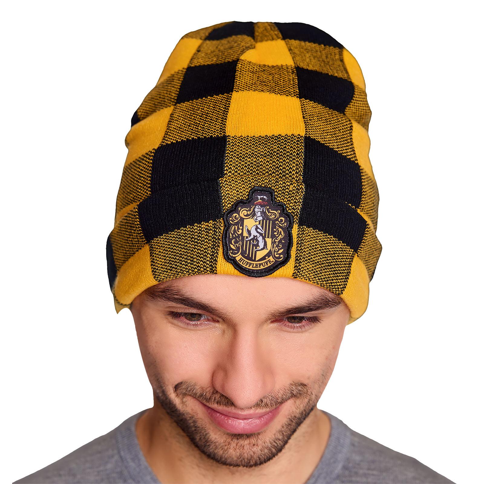 Harry Potter - Hufflepuff Wappen Karo Mütze