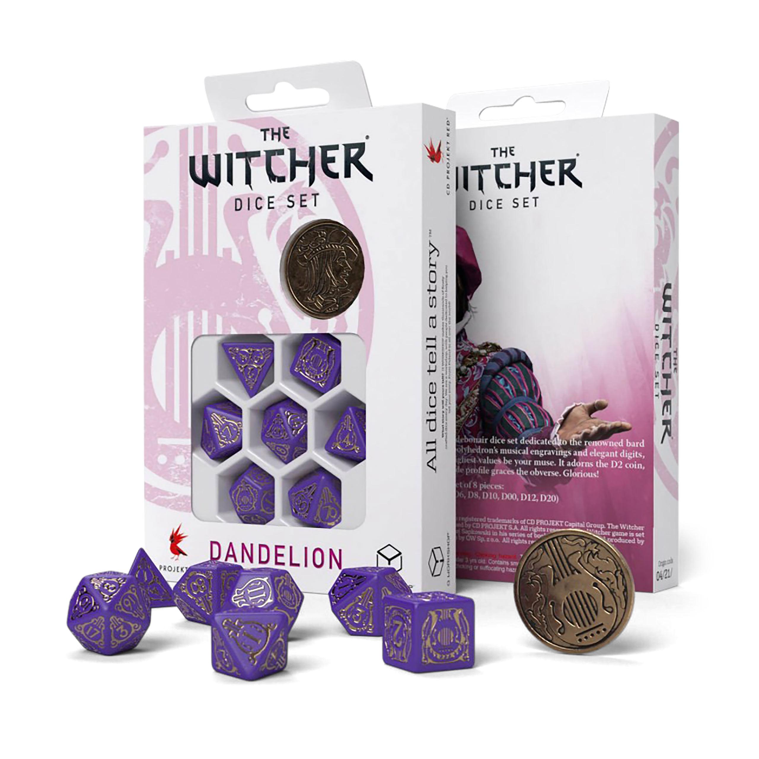 Witcher - Dandelion Viscount de Lettenhove RPG Würfel Set 7tlg mit Sammlermünze