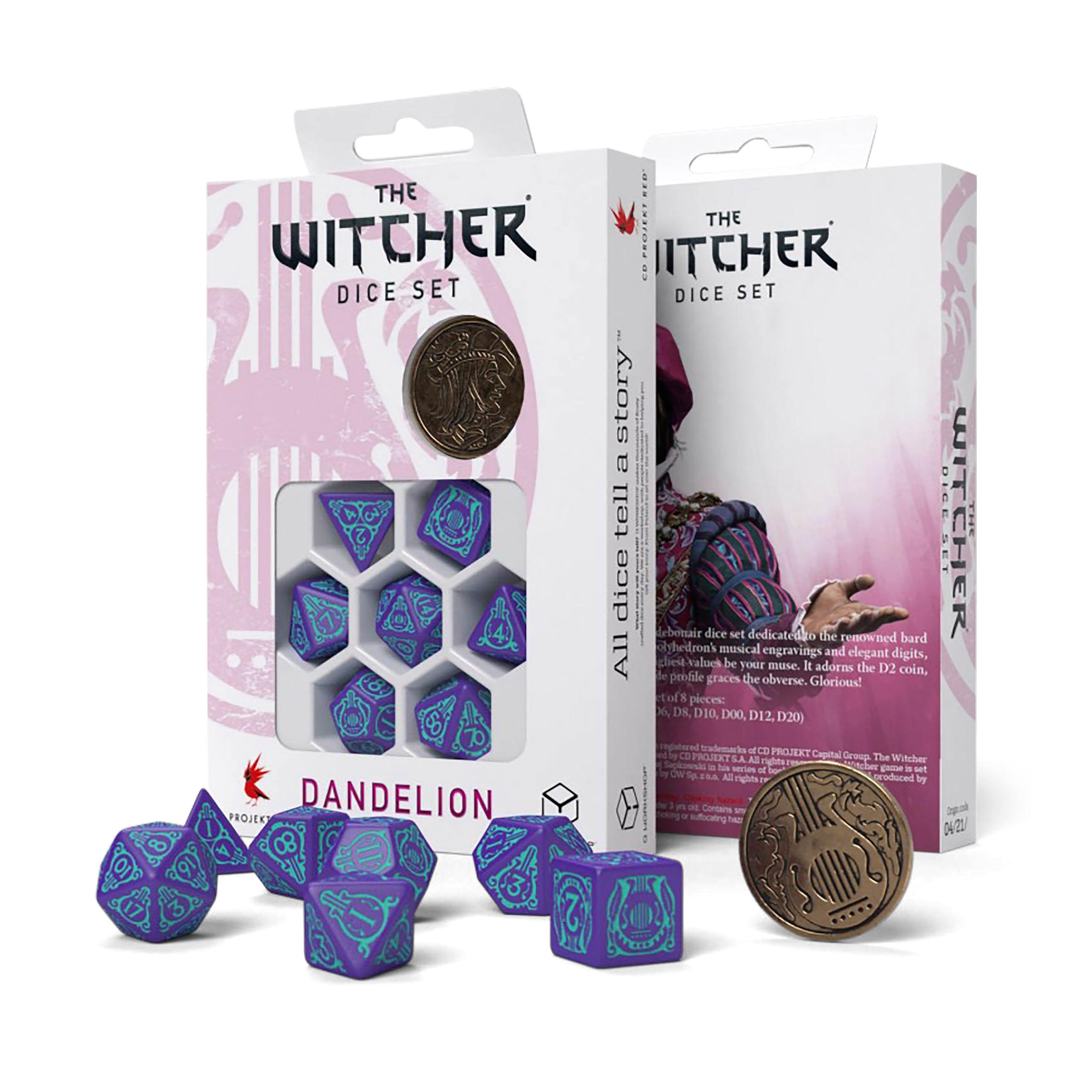 Witcher - Dandelion Half a Century of Poetry RPG Würfel Set 7tlg mit Sammlermünze