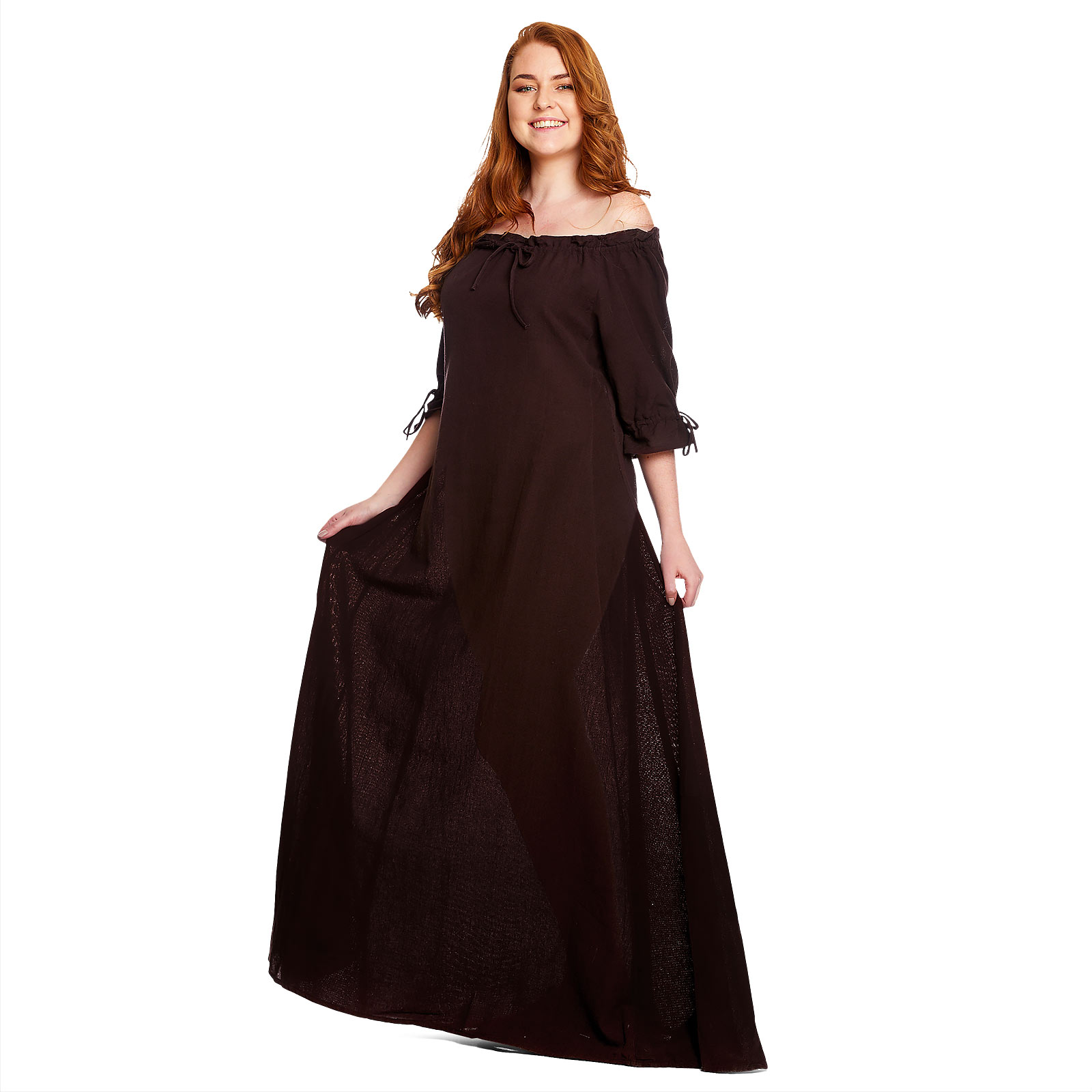 Mittelalter Kleid Kurzarm braun