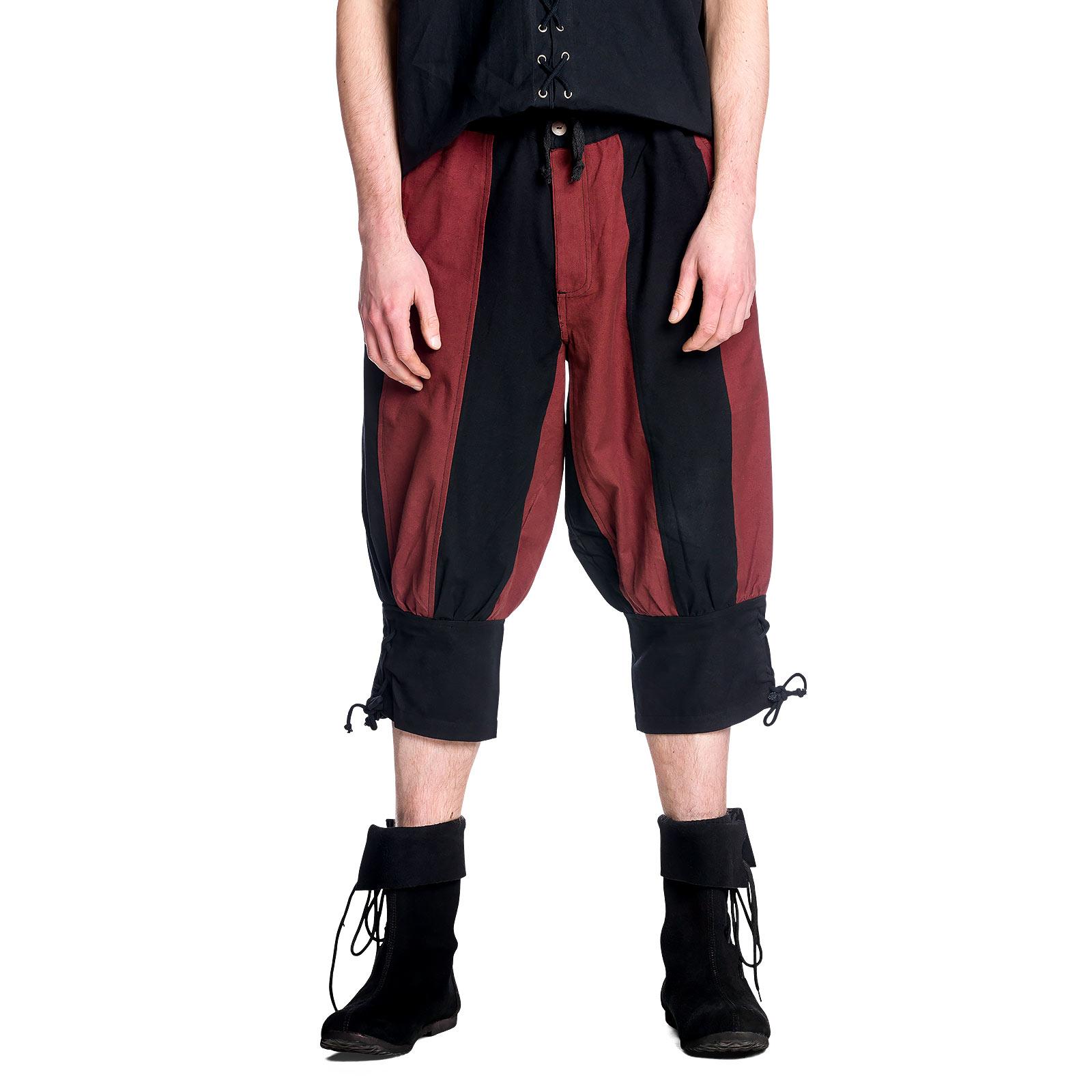 Mittelalter Kniebundhose schwarz-rot