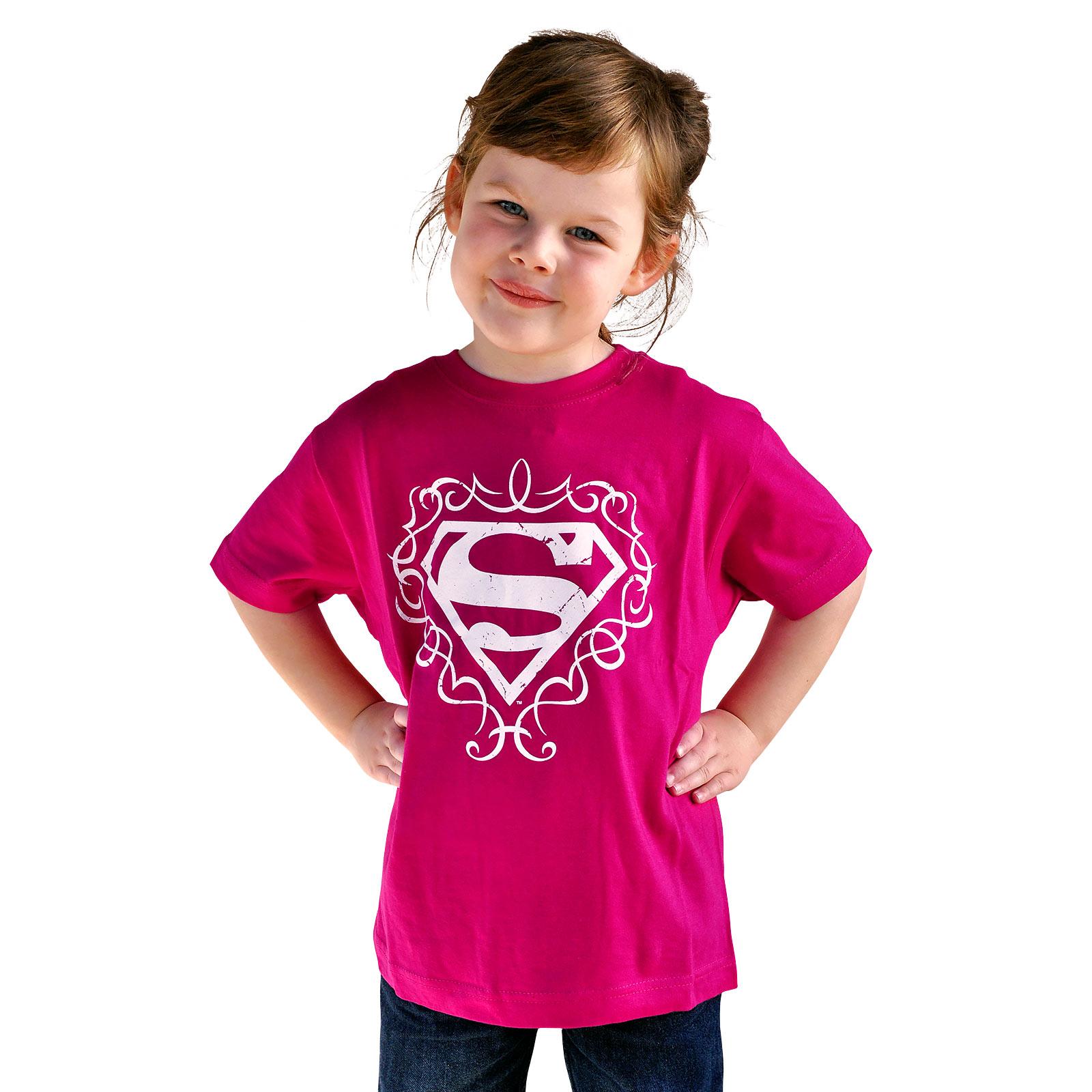 Superman Logo Kinder Girlie Shirt pink