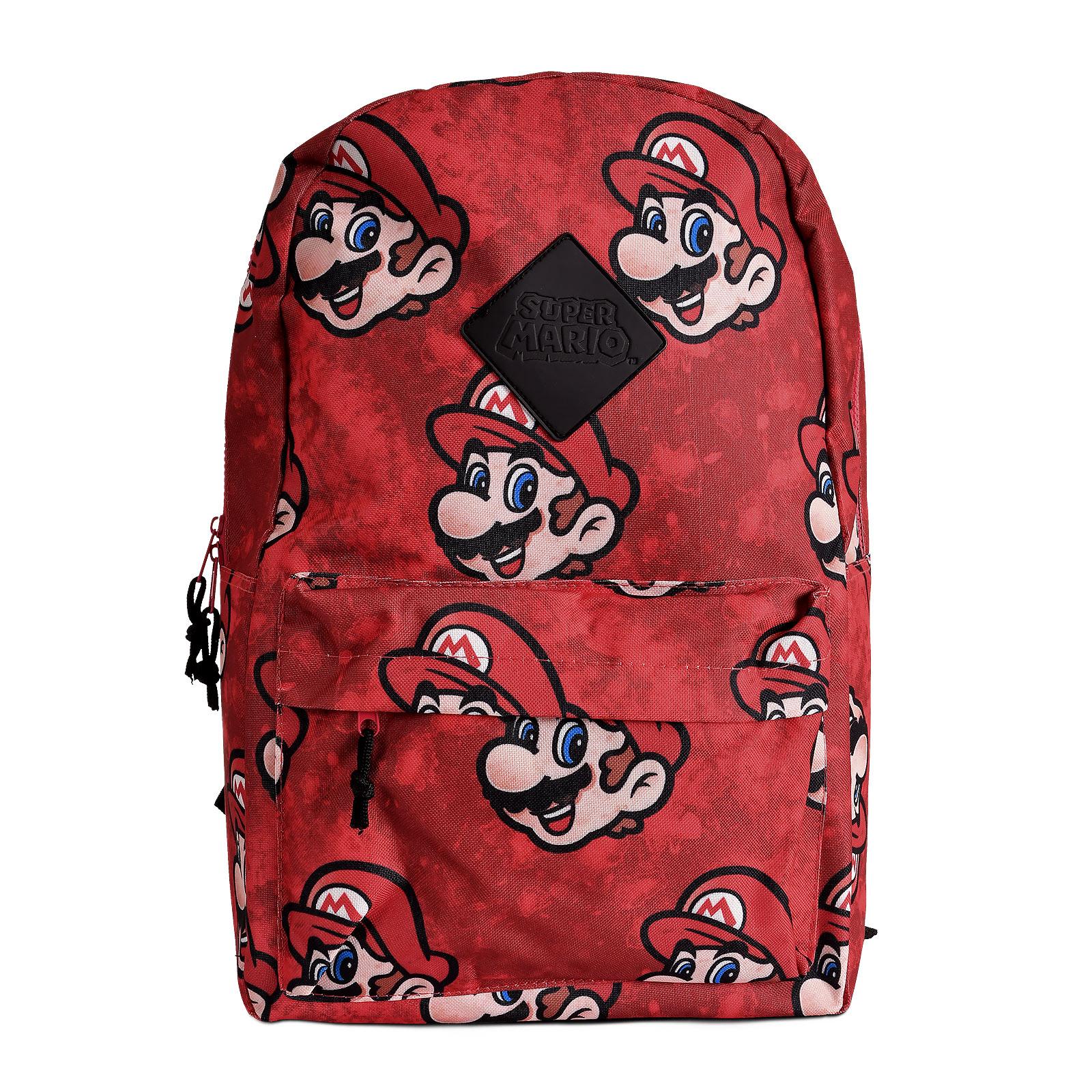 Super Mario - Faces Rucksack rot