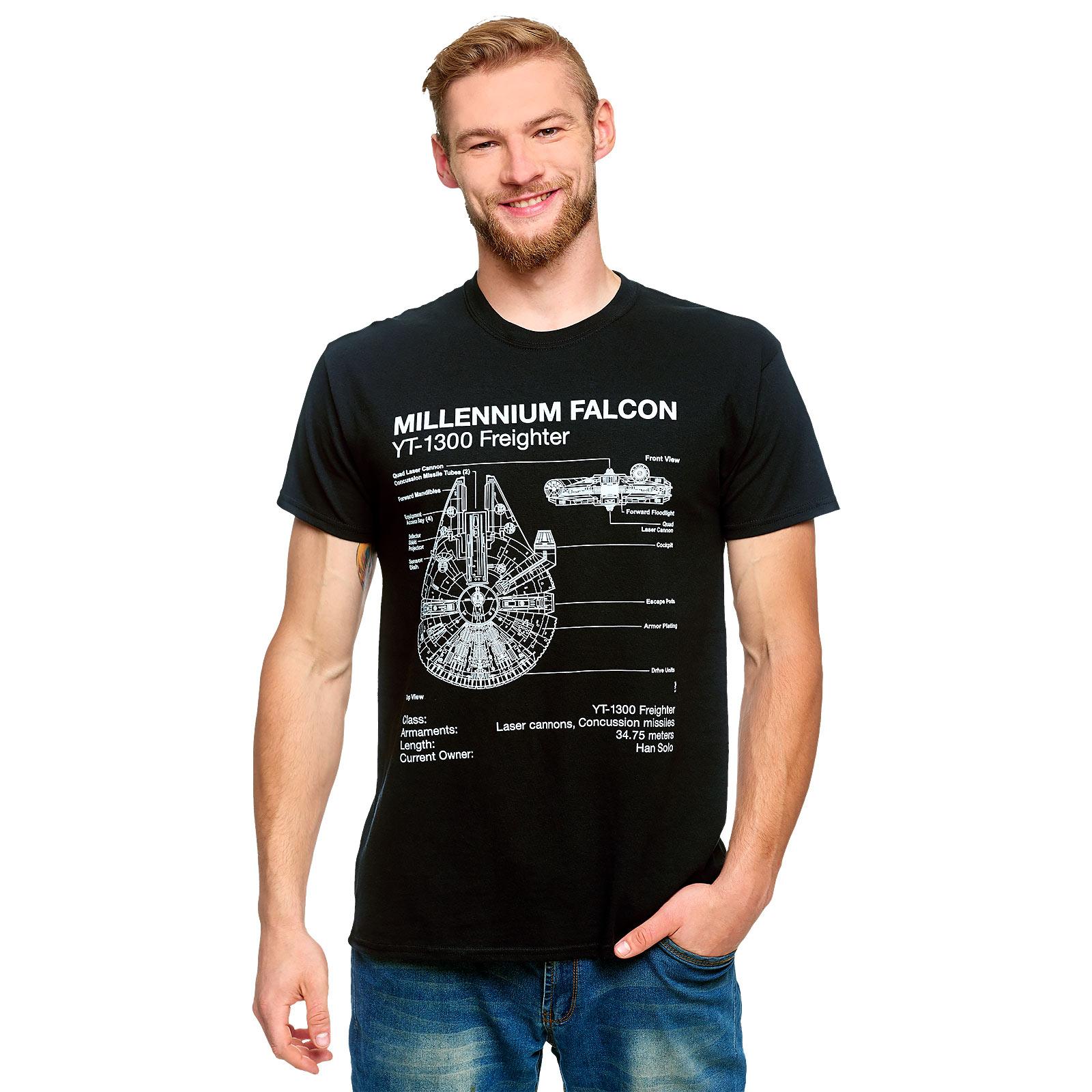 Star Wars - Millennium Falcon Sketch T-Shirt schwarz