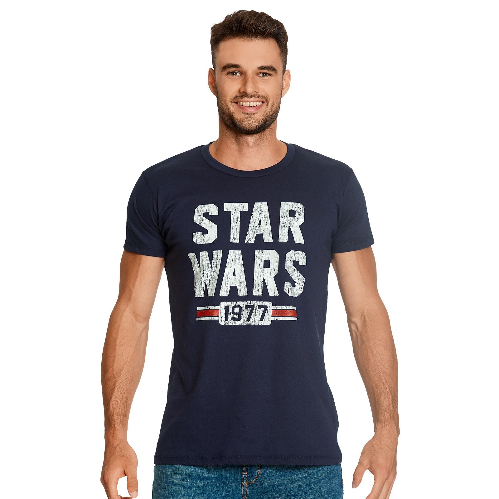 Star Wars of 1977 Distressed T-Shirt blau