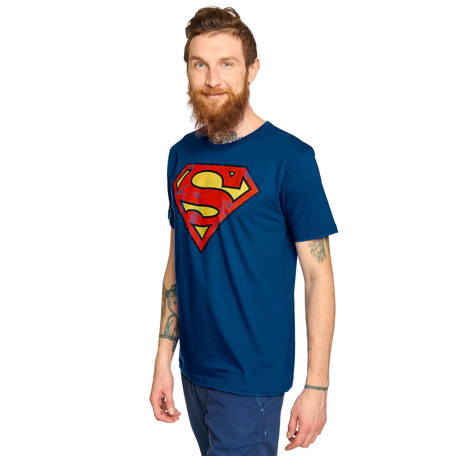 Superman - Distressed Logo T-Shirt blau
