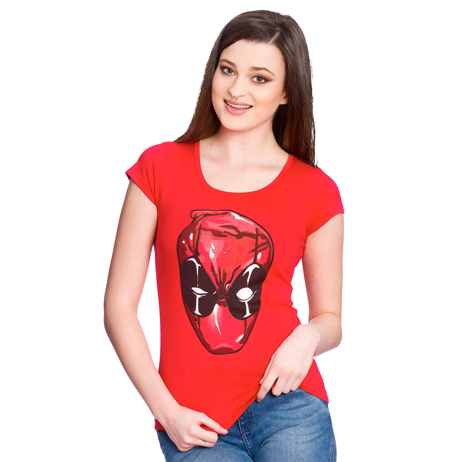 Deadpool - Head Girlie Shirt rot