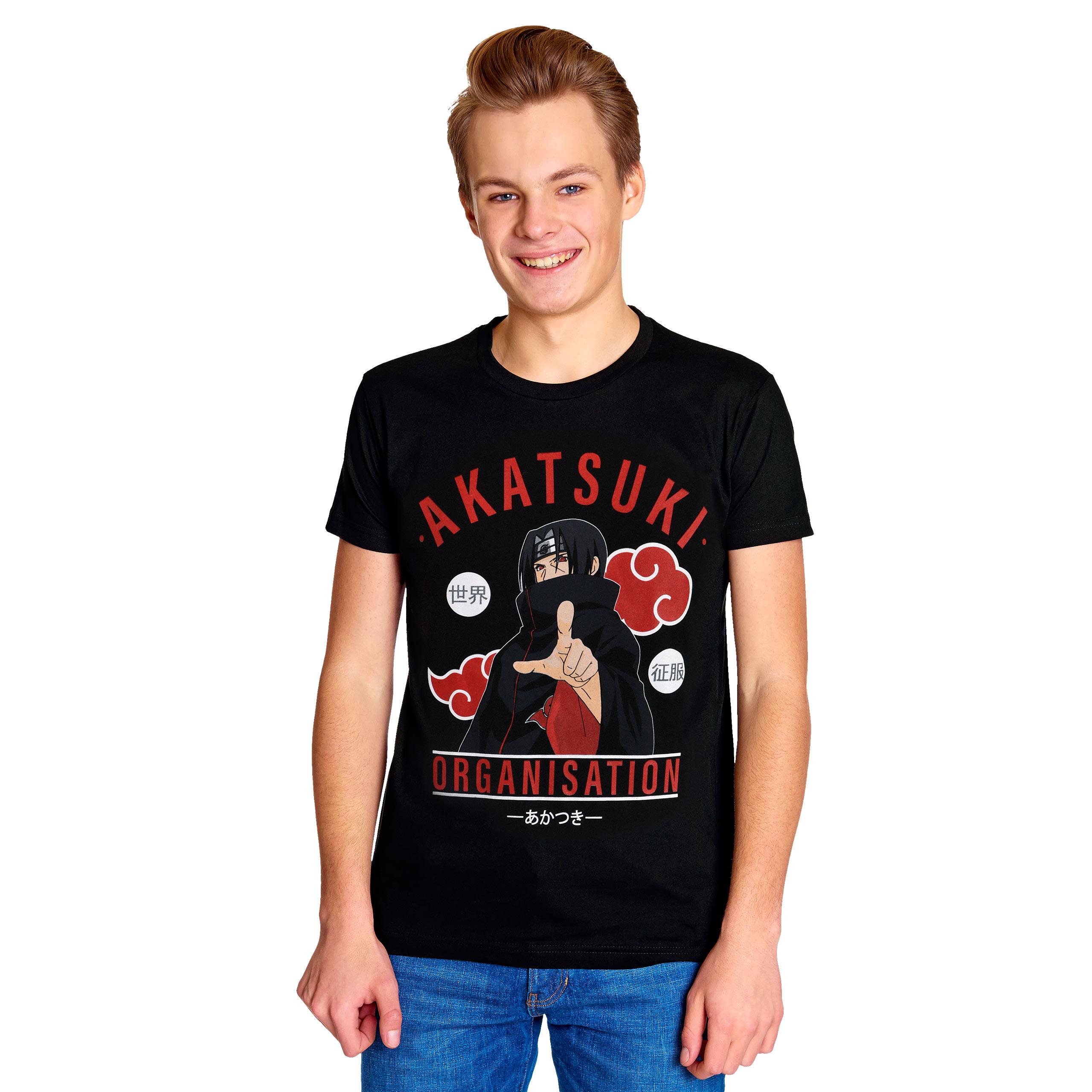 Naruto - Akatsuki Organisation T-Shirt schwarz