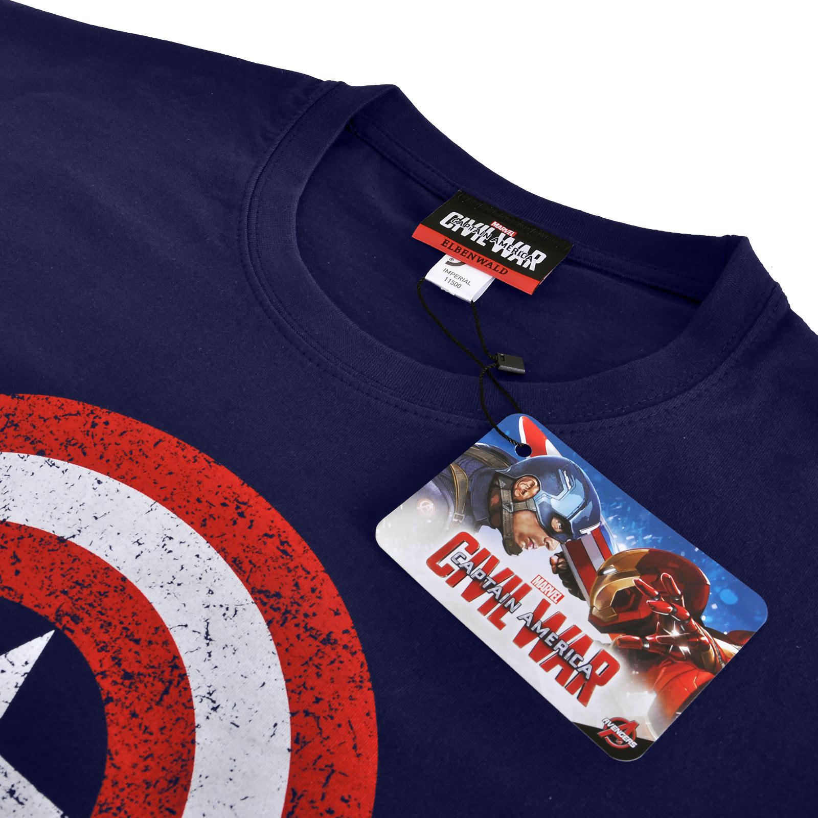 Captain America - Distressed Shield Logo T-Shirt blau