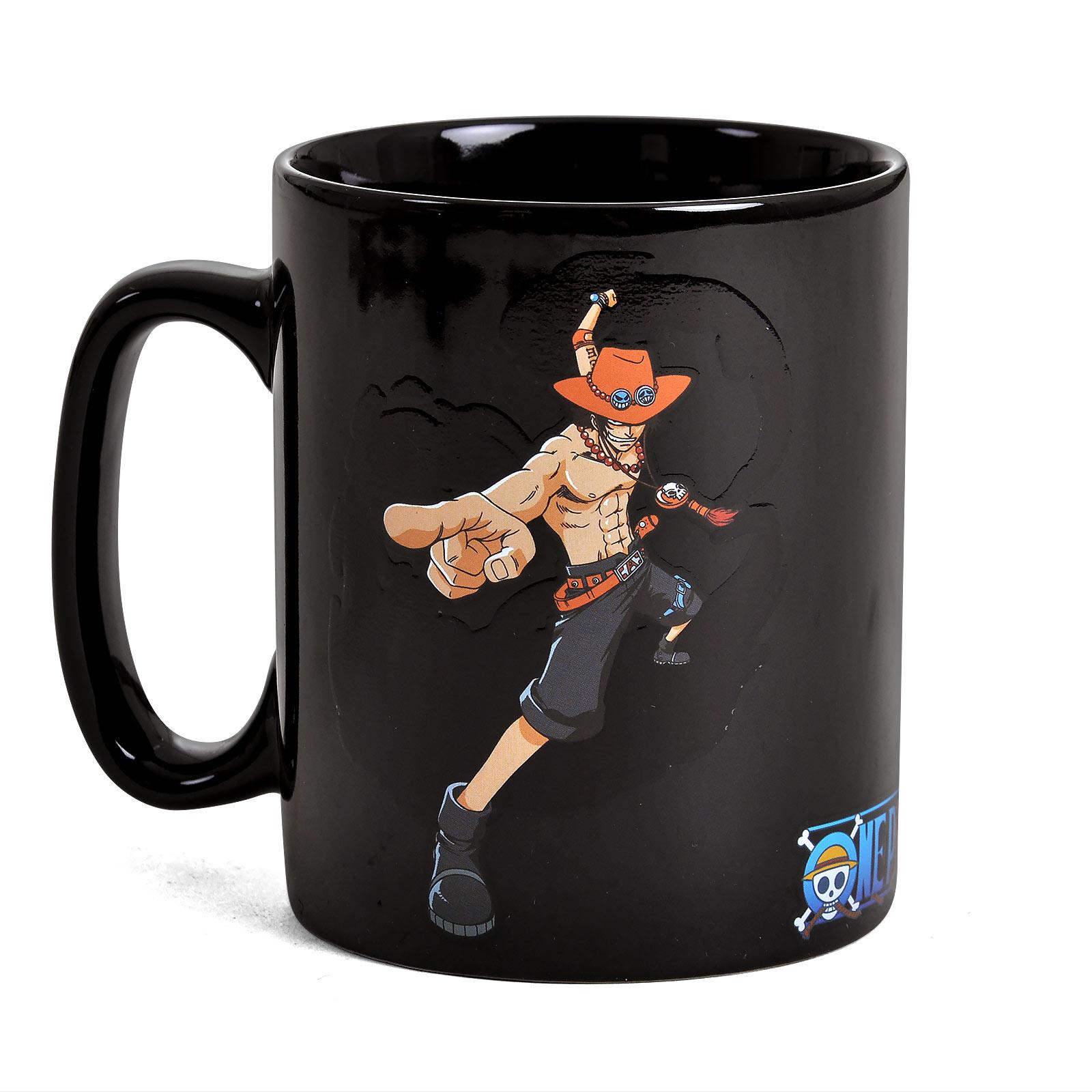 One Piece - Luffy und Ace Thermoeffekt Tasse