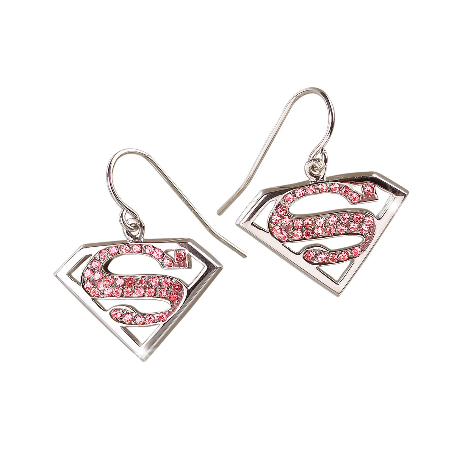 Supergirl Ohrringe - Silber mit rosa Kristallen
