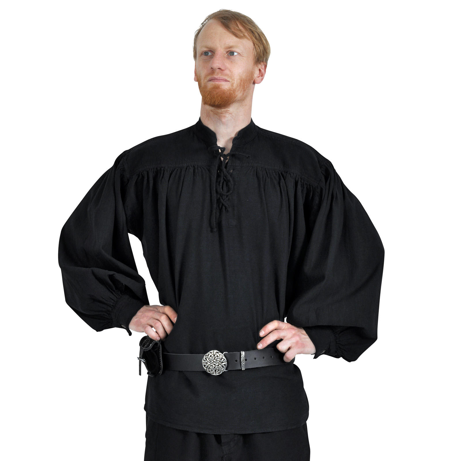 Adalbert - Mittelalter Hemd mit Frontschnürung schwarz