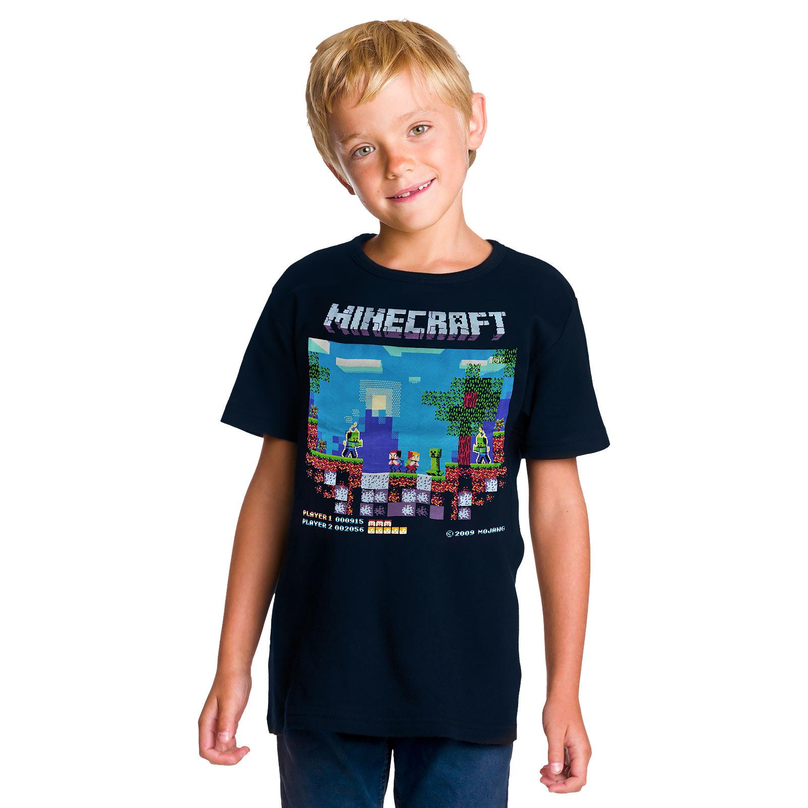 Minecraft - Brawler Retro T-Shirt Kinder blau