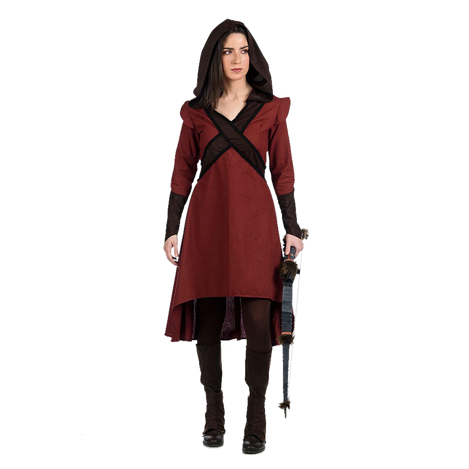 Bogenschützin Kostüm Kleid Damen rot-braun