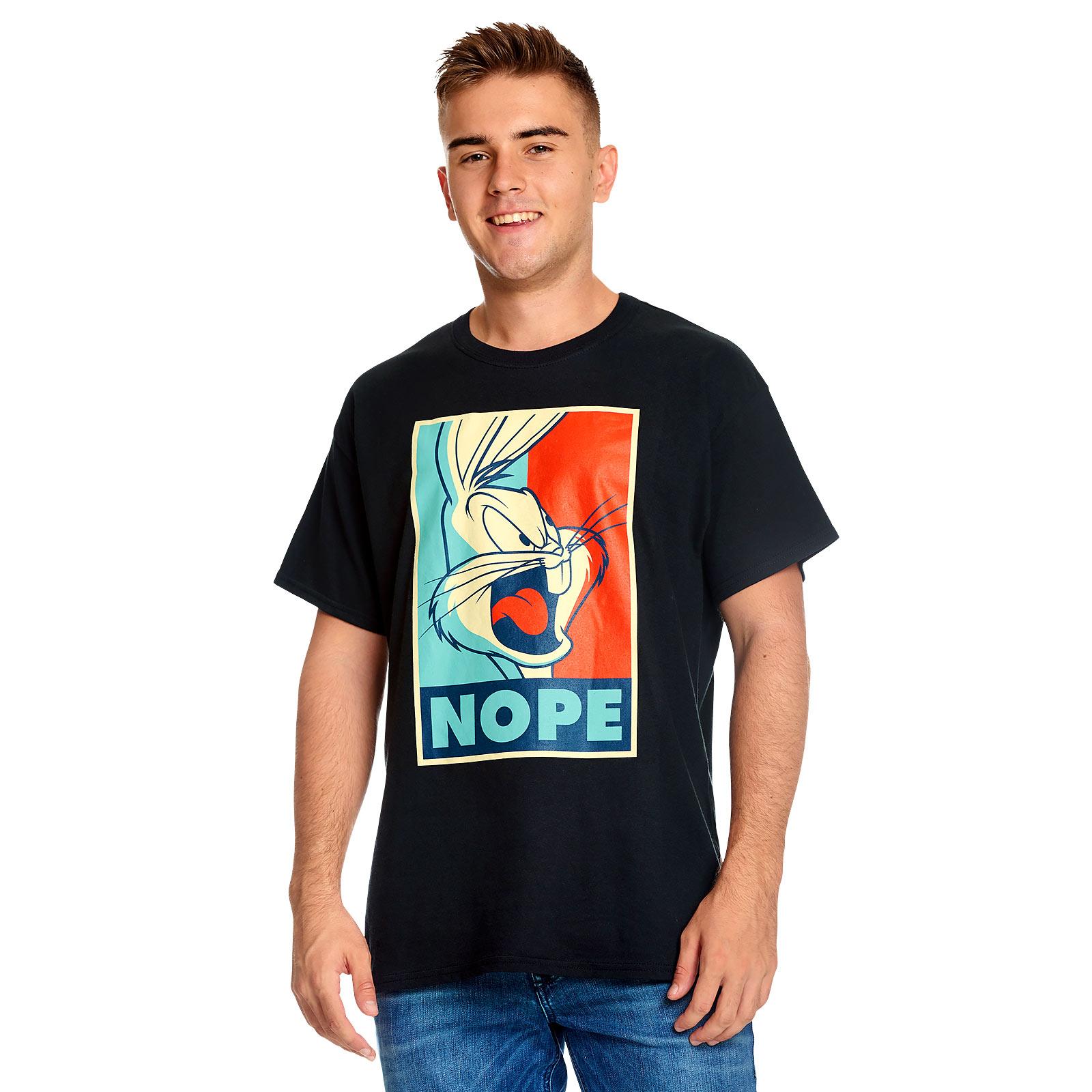 Looney Tunes - Bugs Bunny Nope Poster T-Shirt schwarz
