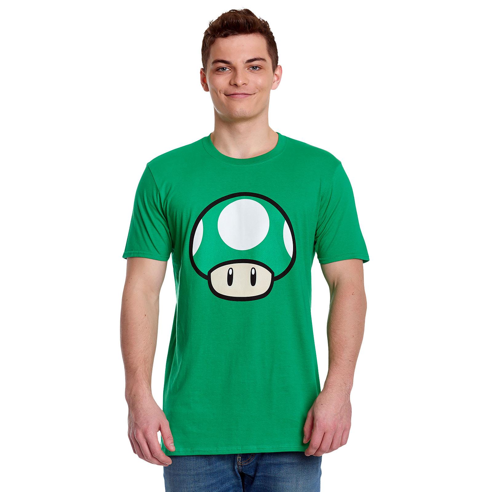 Super Mario - 1 UP Pilz T-Shirt grün