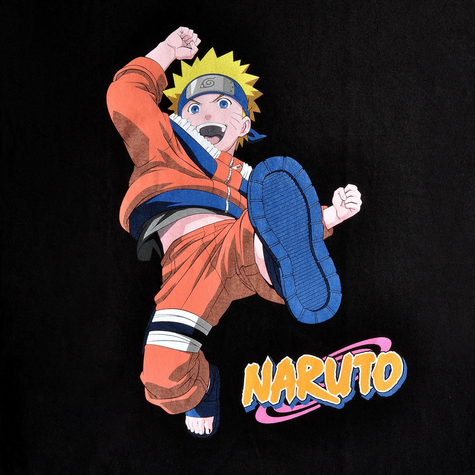 Naruto Uzumaki Kick T-Shirt schwarz