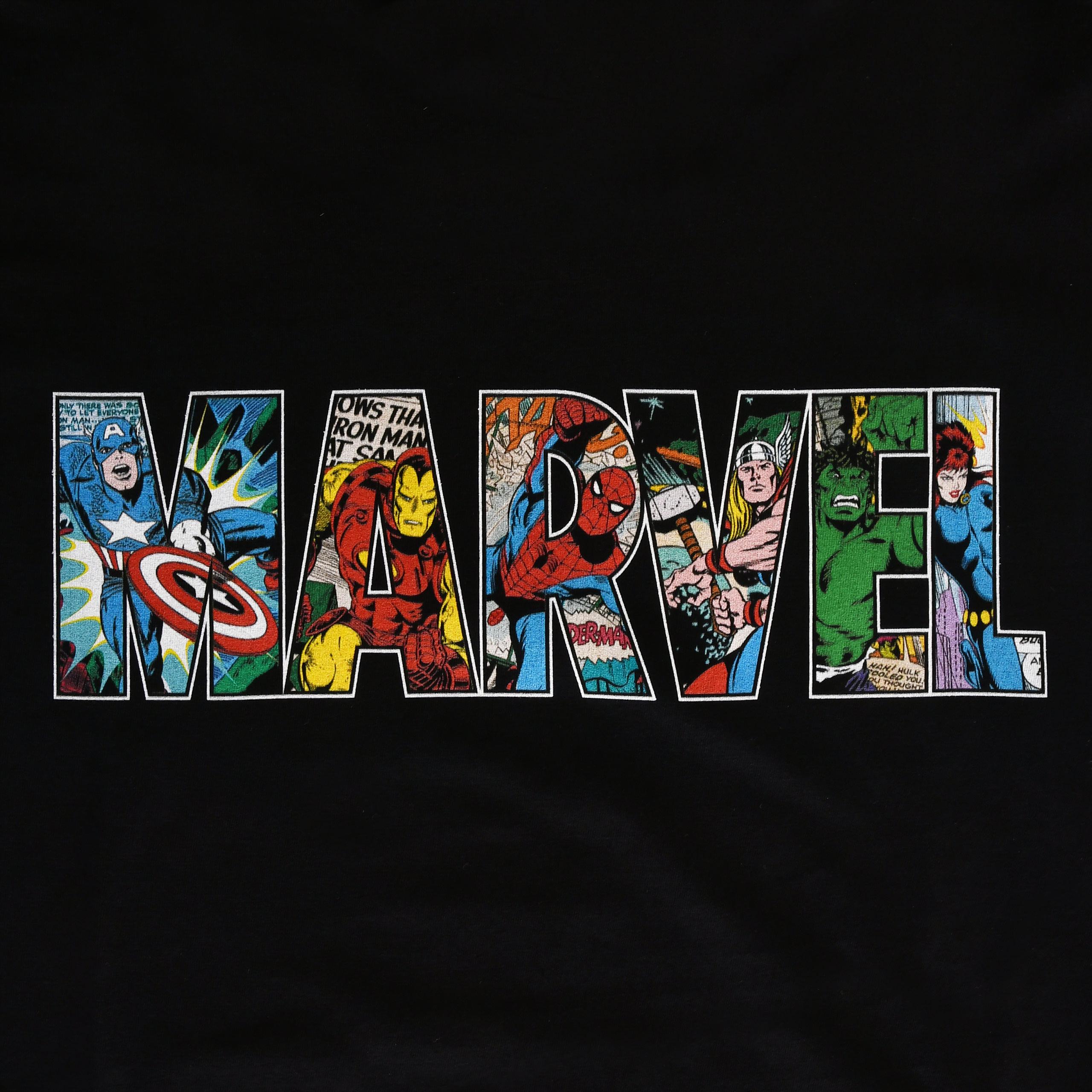 Marvel - Comic Strip Logo T-Shirt schwarz