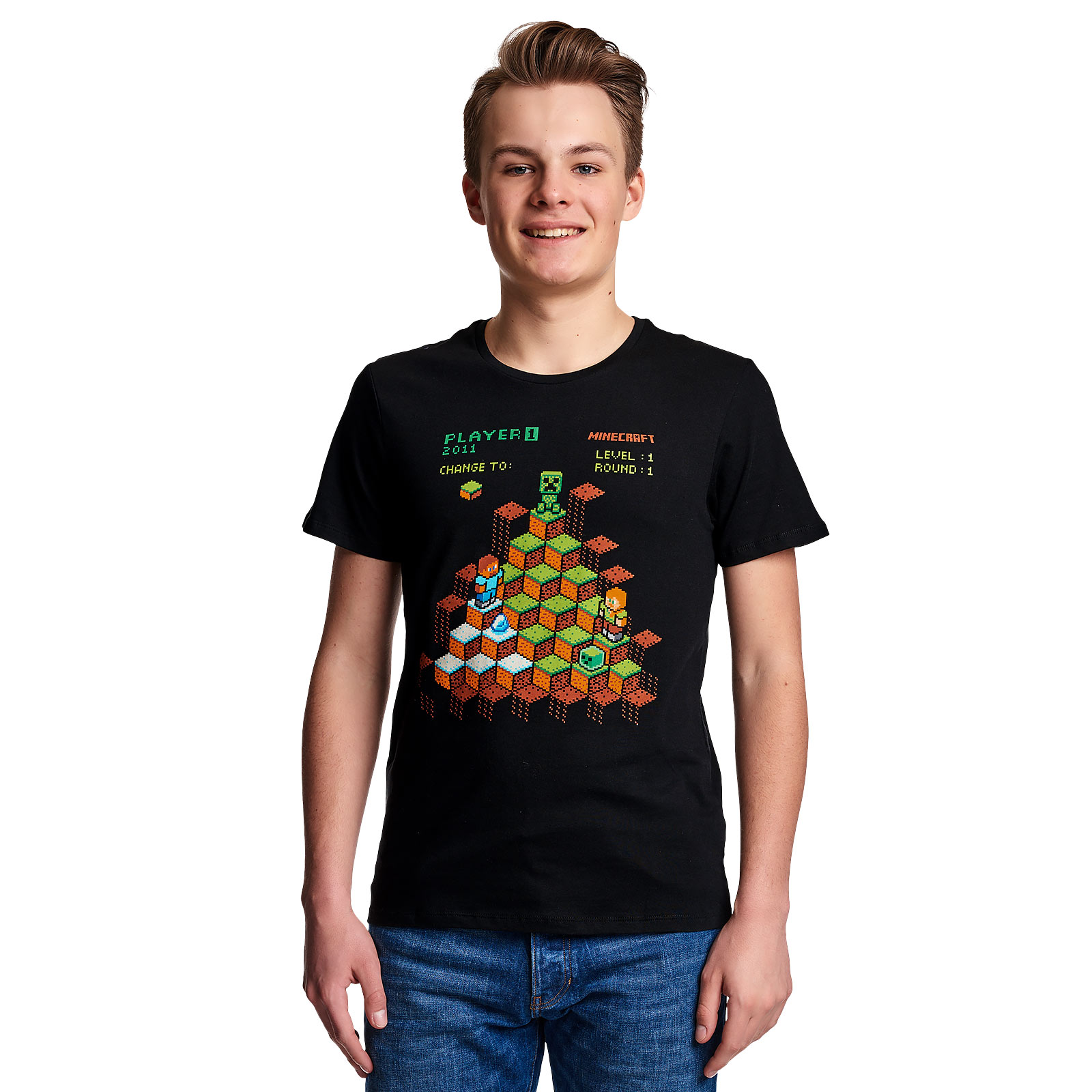 Minecraft - Miner Mountain Retro T-Shirt schwarz