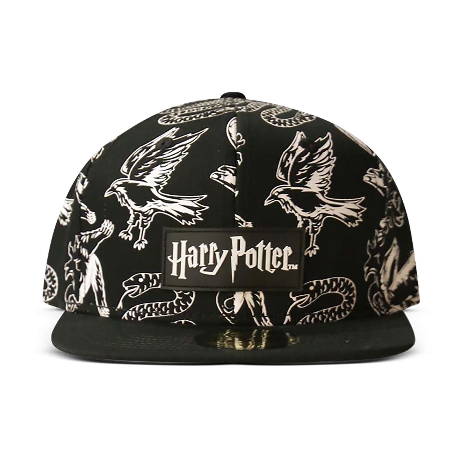 Harry Potter - Hogwarts Wappentiere Snapback Cap schwarz-weiß