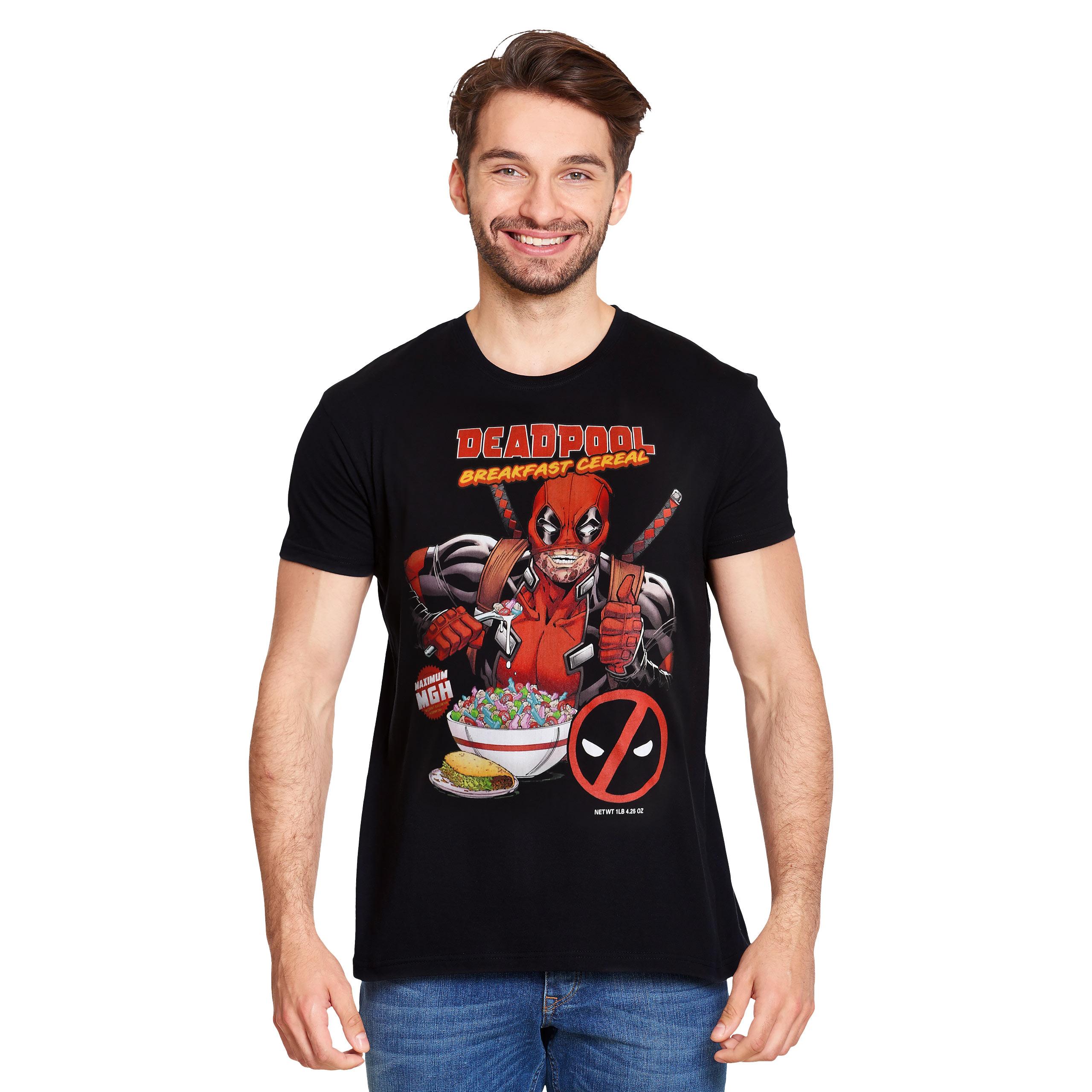 Deadpool - Breakfast Cereal T-Shirt schwarz
