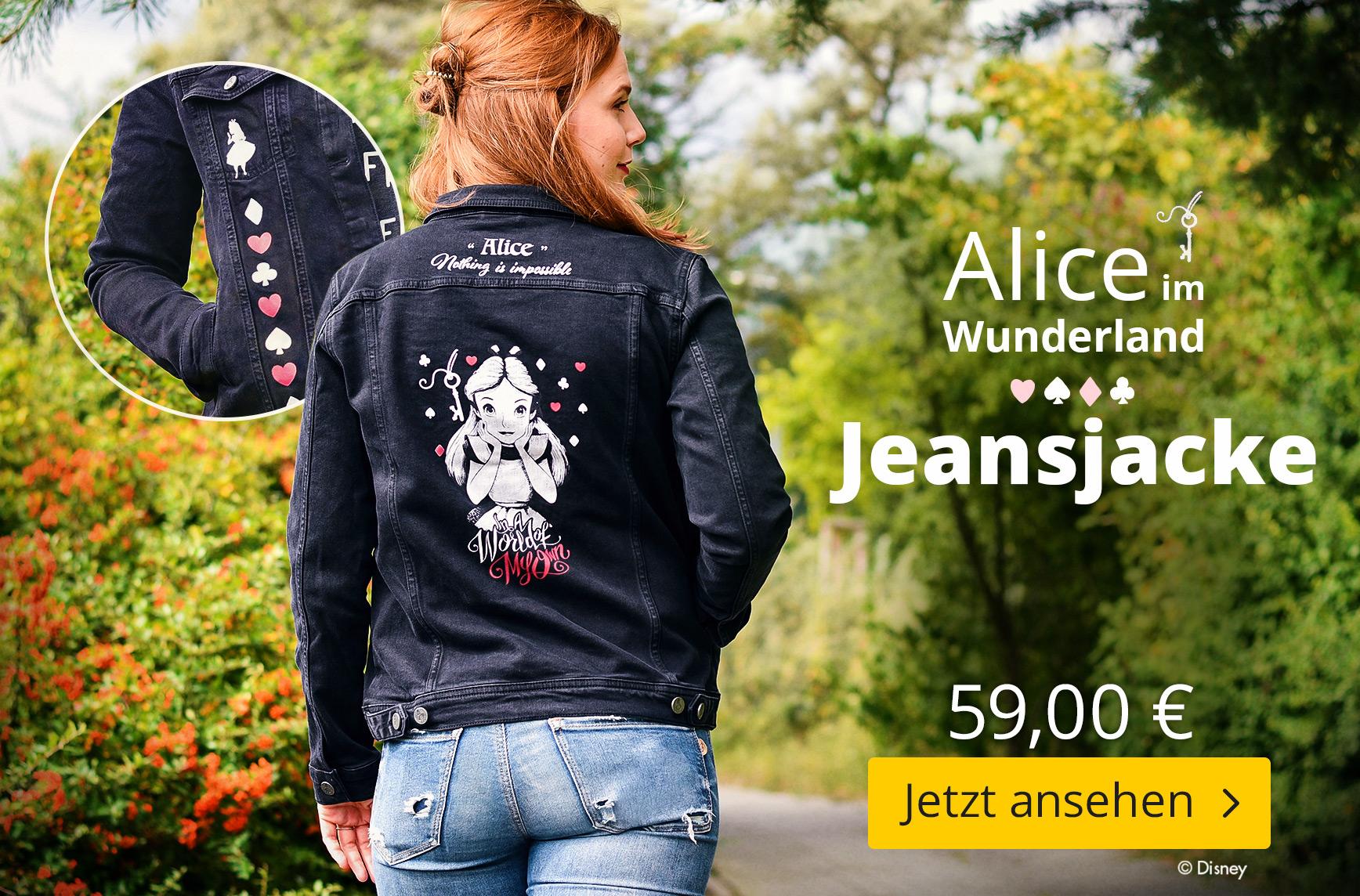Alice im Wunderland - Jeansjacke Damen schwarz - 59 EUR